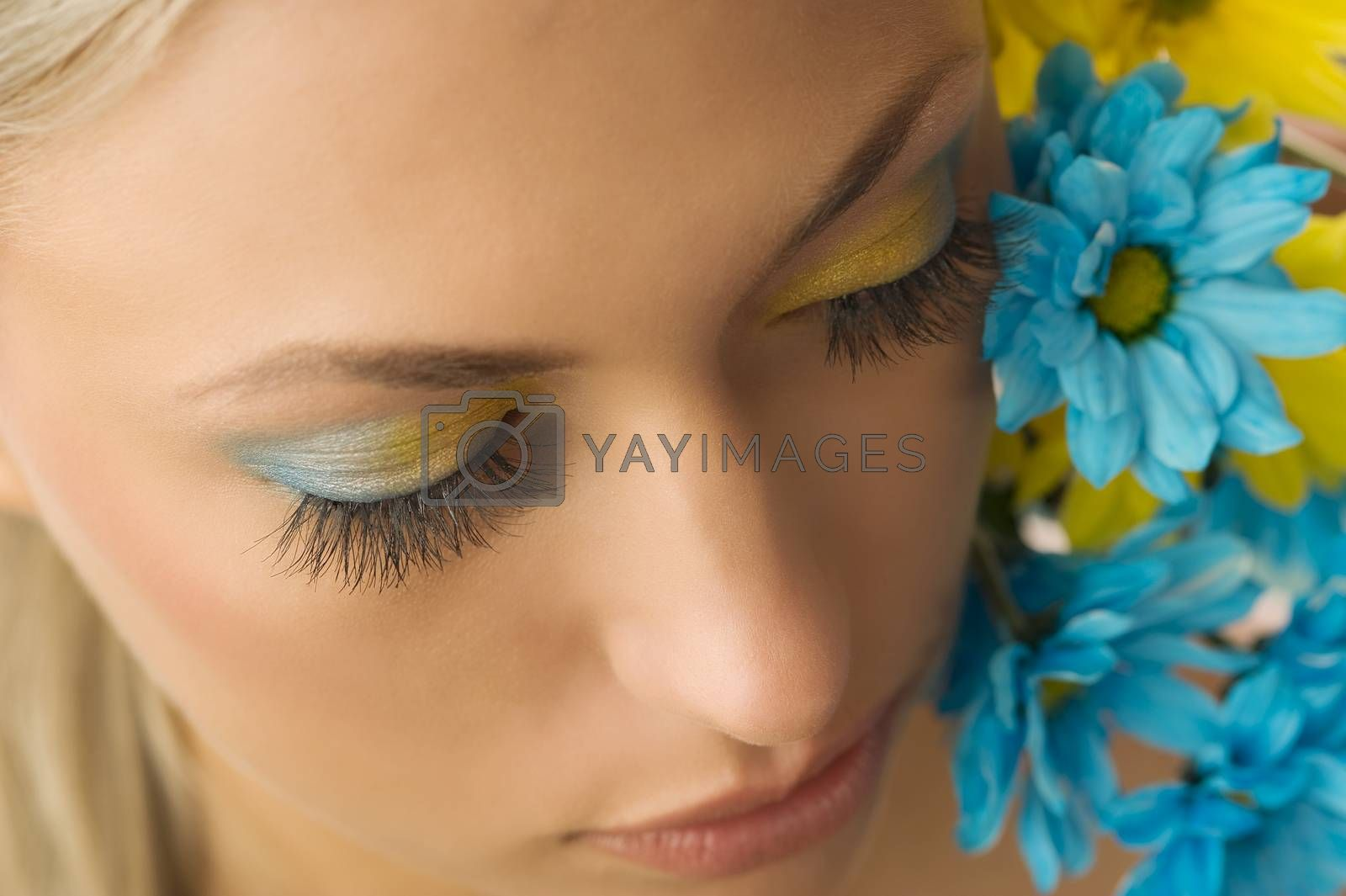 Royalty free image of yellow and blue flower by fotoCD