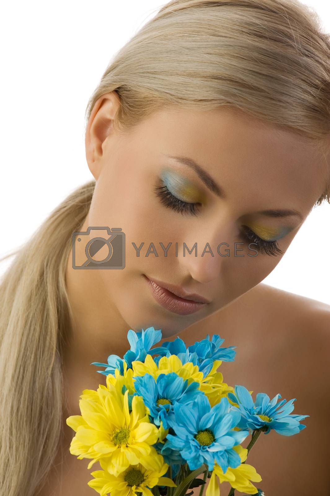 Royalty free image of cute girl with flower by fotoCD