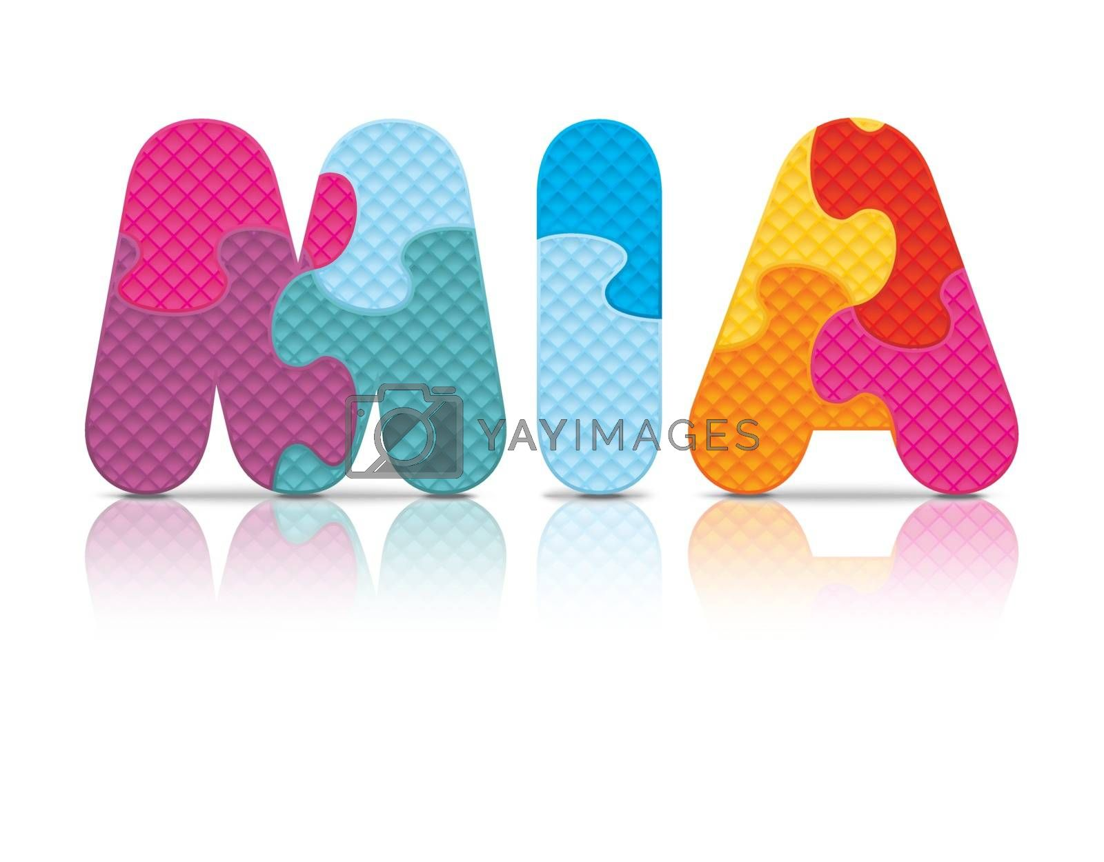 Royalty free image of Vector MIA written with alphabet puzzle by ojal