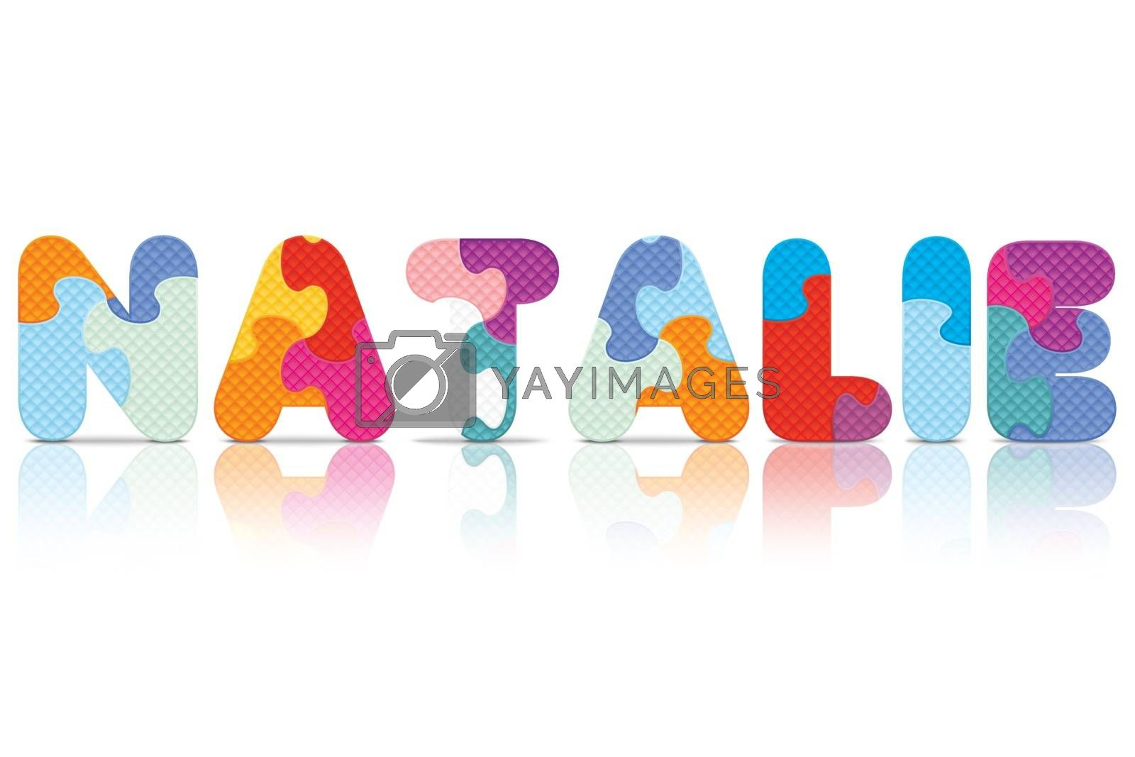Royalty free image of Vector NATALIE written with alphabet puzzle by ojal