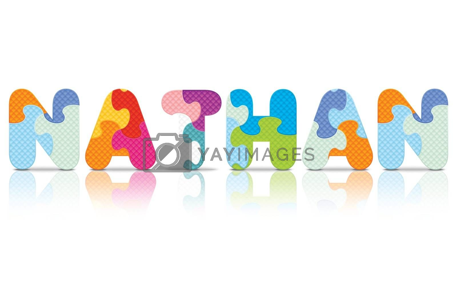Royalty free image of Vector NATHAN written with alphabet puzzle by ojal