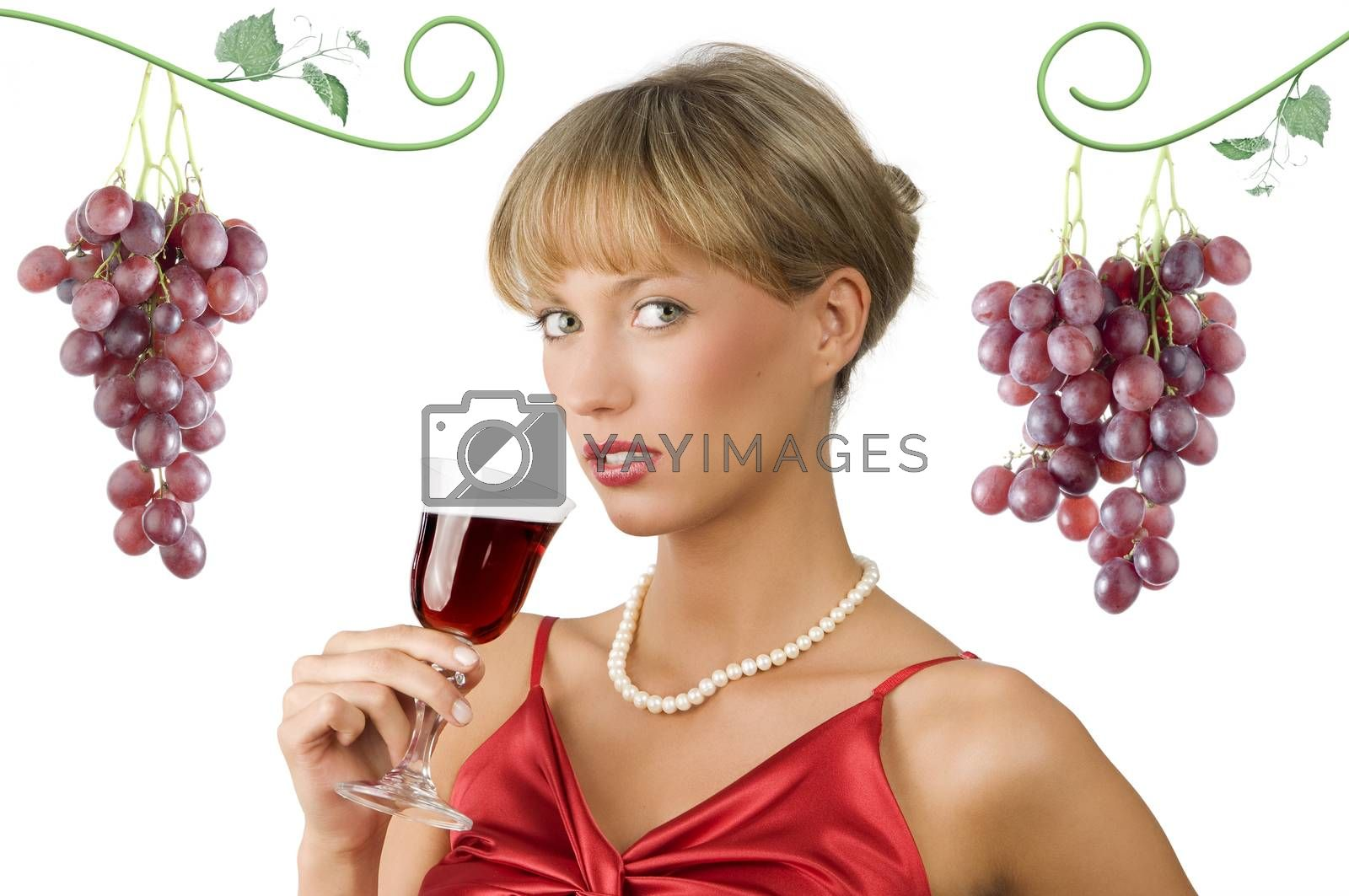 Royalty free image of red wine and red dress by fotoCD
