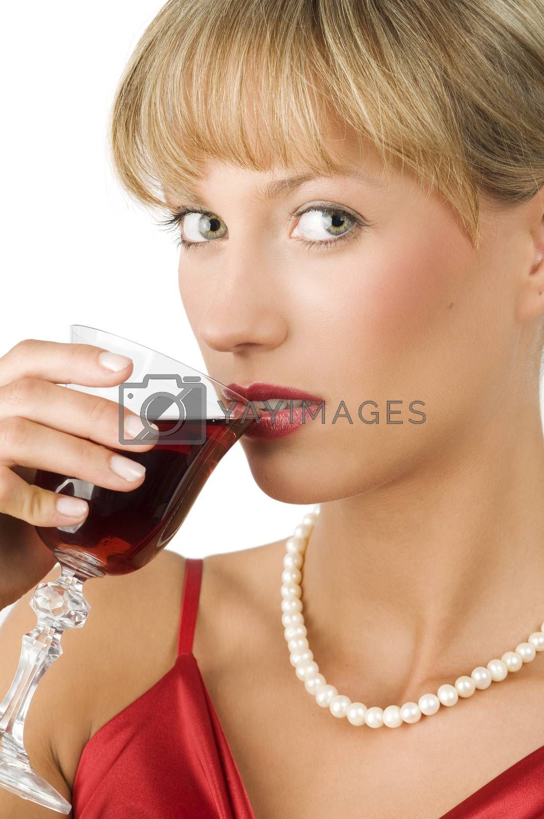 Royalty free image of red wine green eyes by fotoCD