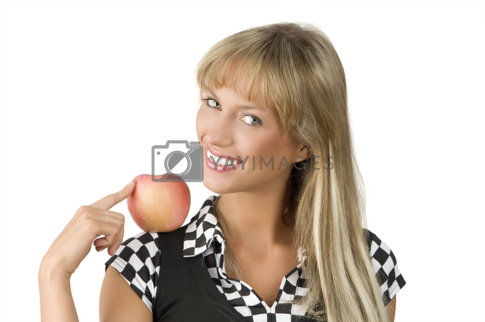 Royalty free image of the blond and apple by fotoCD