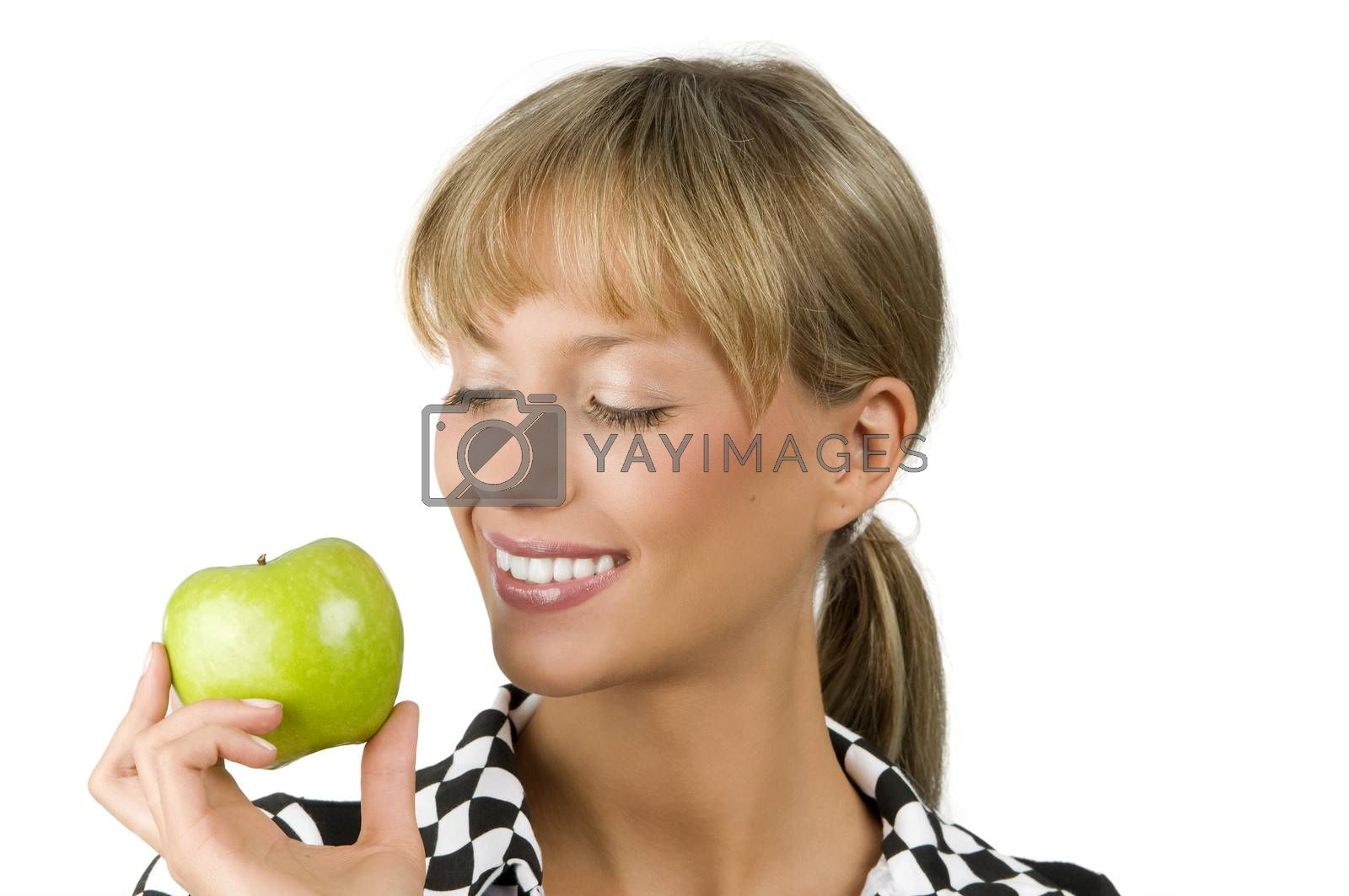 Royalty free image of smiling at green apple by fotoCD