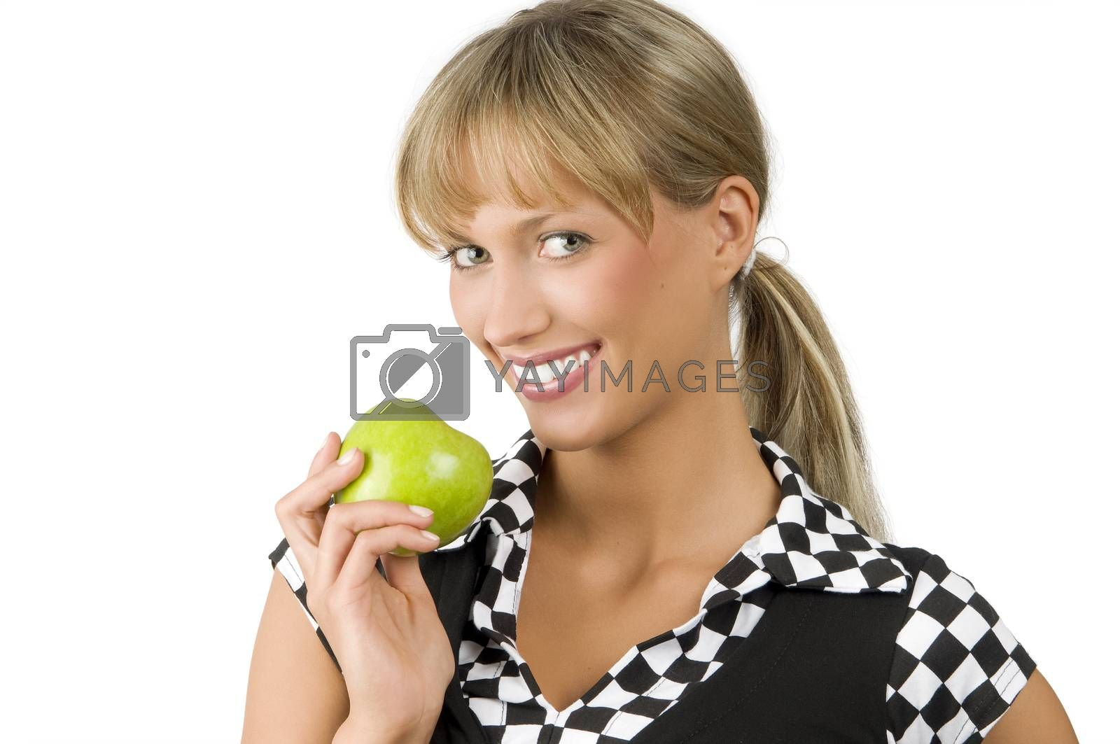 Royalty free image of green apple and smile by fotoCD
