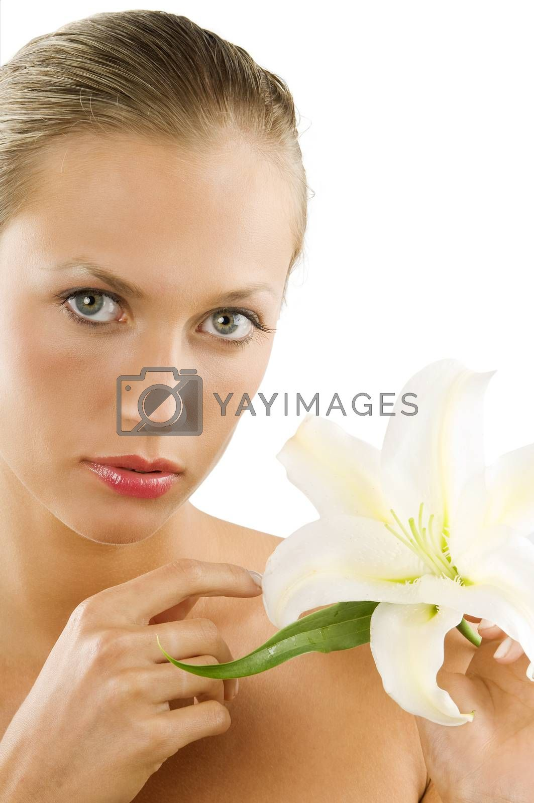 Royalty free image of portrait and lily by fotoCD