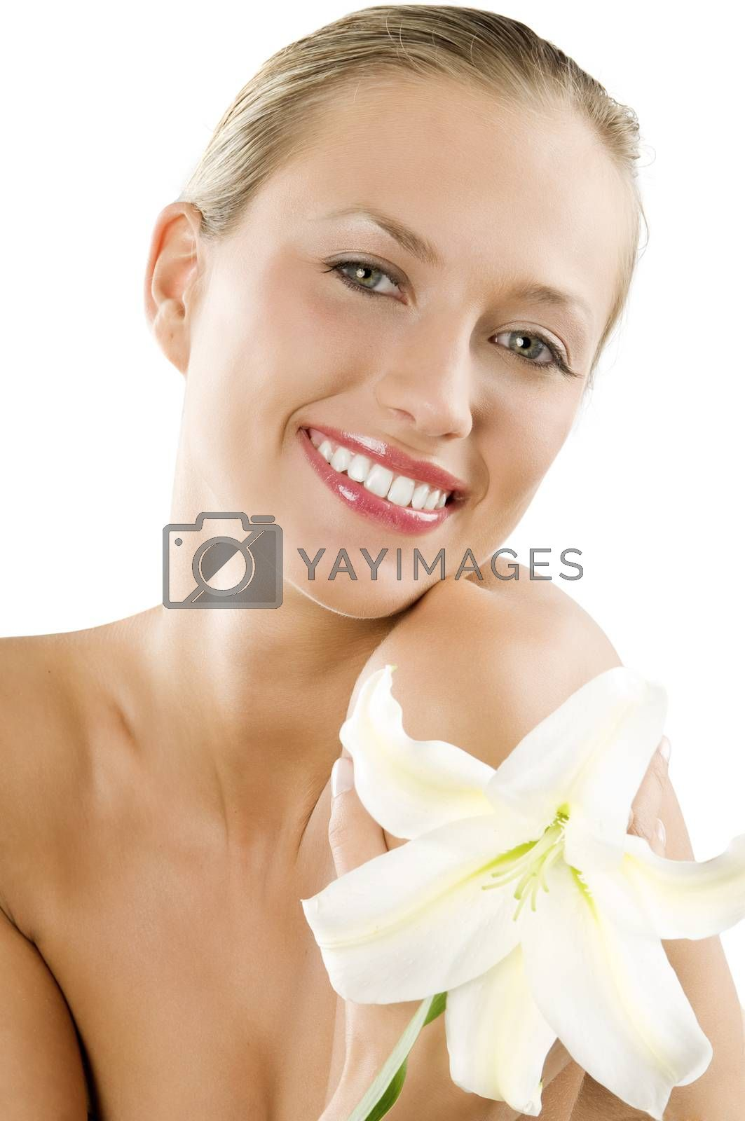 Royalty free image of blond girl smiling by fotoCD