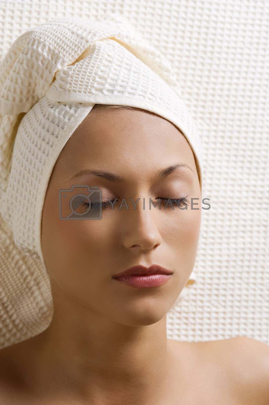 Royalty free image of sleeping woman in spa by fotoCD