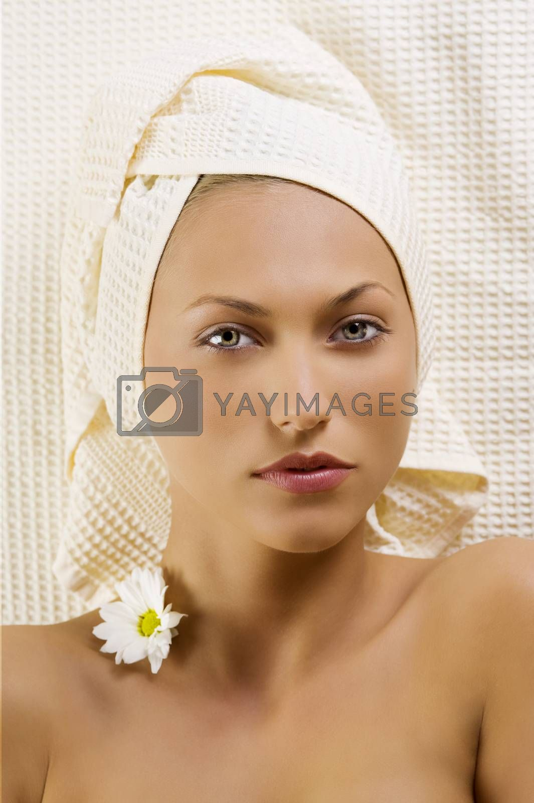 Royalty free image of cute girl with towels  by fotoCD