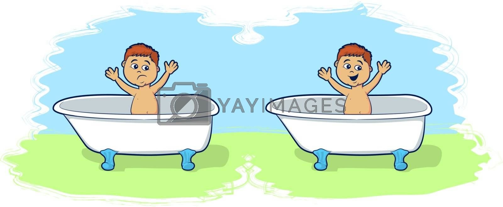 Royalty free image of Bath Time for Cartoon Boy by graphicgeoff