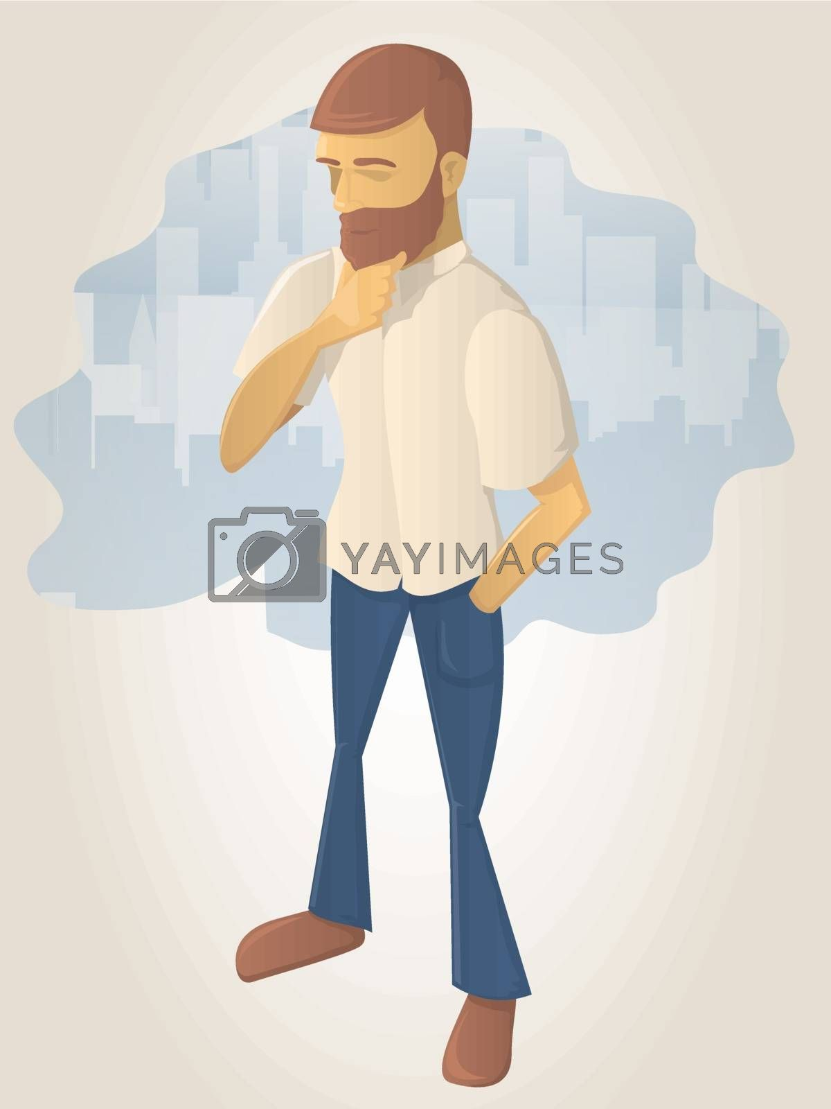 Royalty free image of Bearded Man in Thought by graphicgeoff
