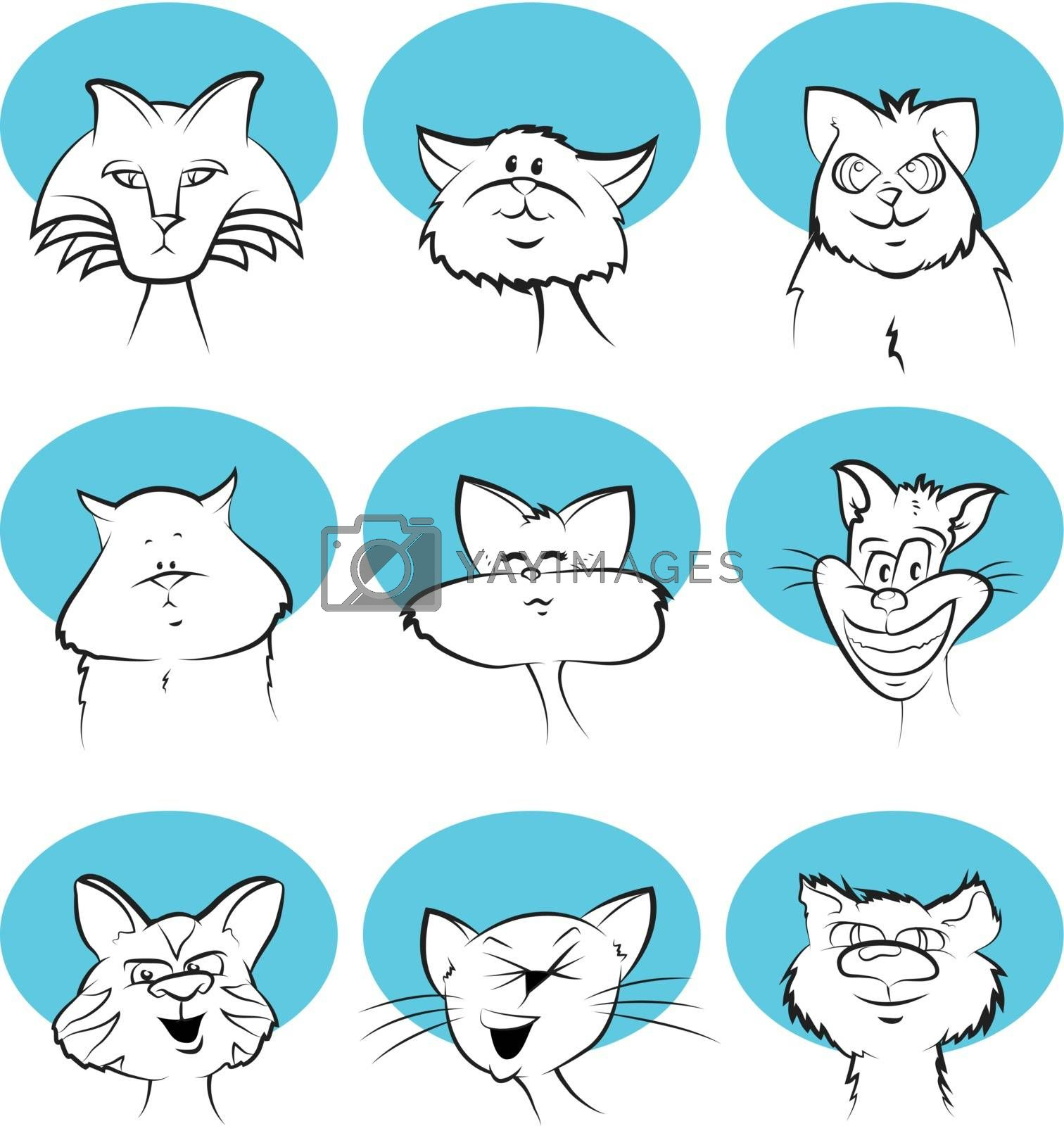 Royalty free image of Cat Cartoon Faces by graphicgeoff