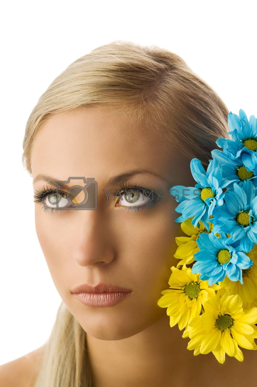 Royalty free image of girl and yellow and blue flower by fotoCD