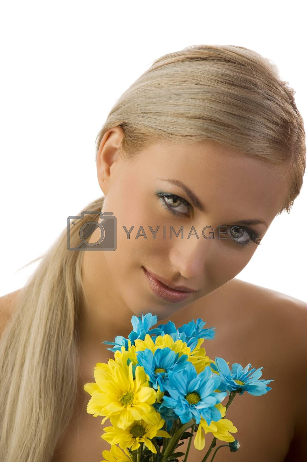Royalty free image of beauty girl yellow and blue flower by fotoCD