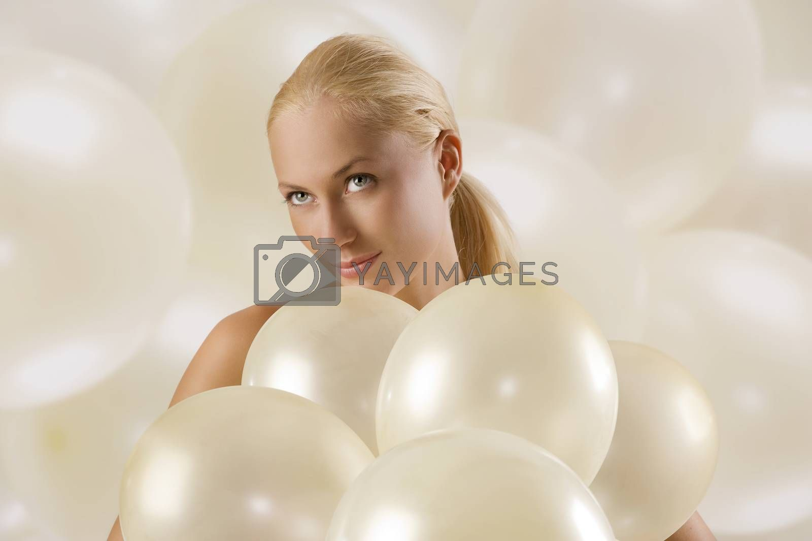 Royalty free image of girl with ballons by fotoCD