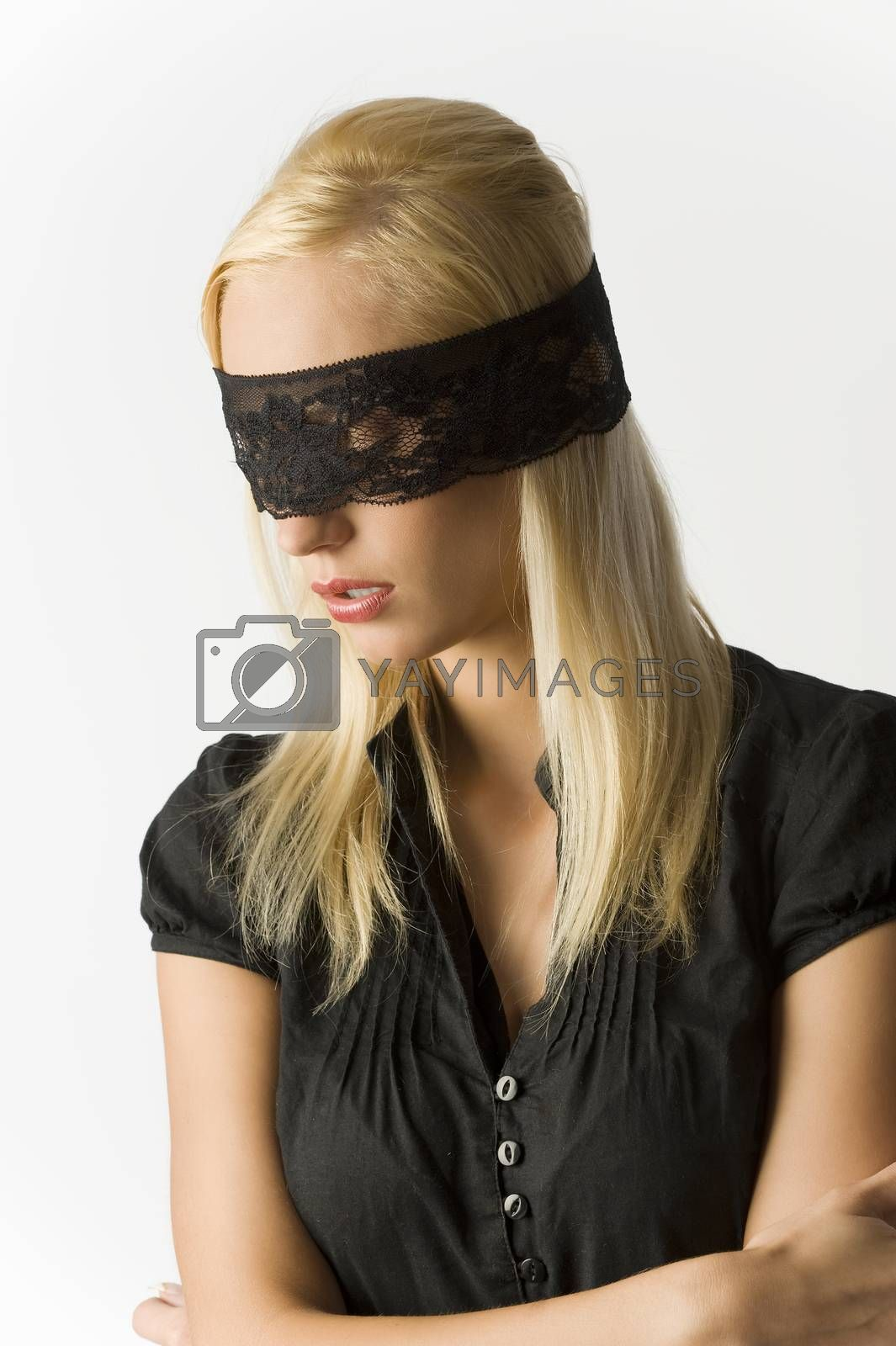 Royalty free image of the blond with lace on eyes by fotoCD