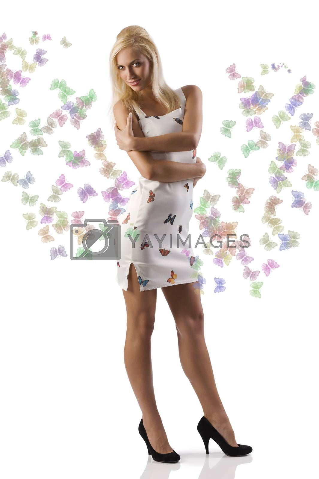 Royalty free image of blond girl white dess by fotoCD