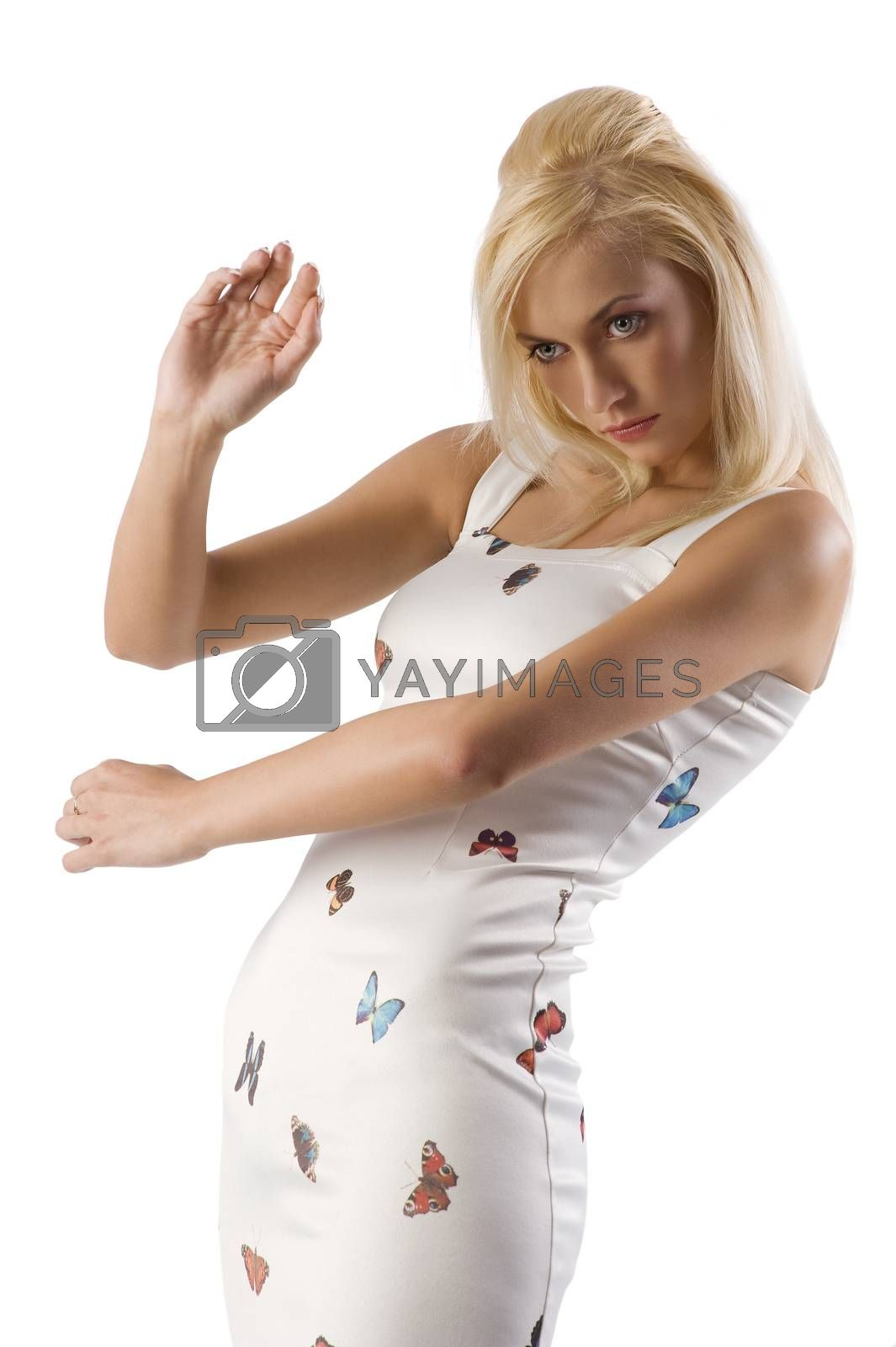 Royalty free image of blond girl in plastic pose by fotoCD