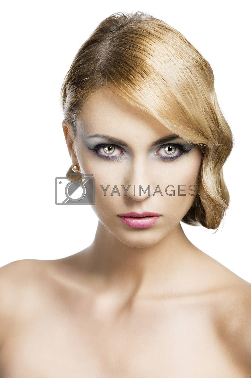 Royalty free image of blond vintage girl portrait, she si in front of the camera by fotoCD
