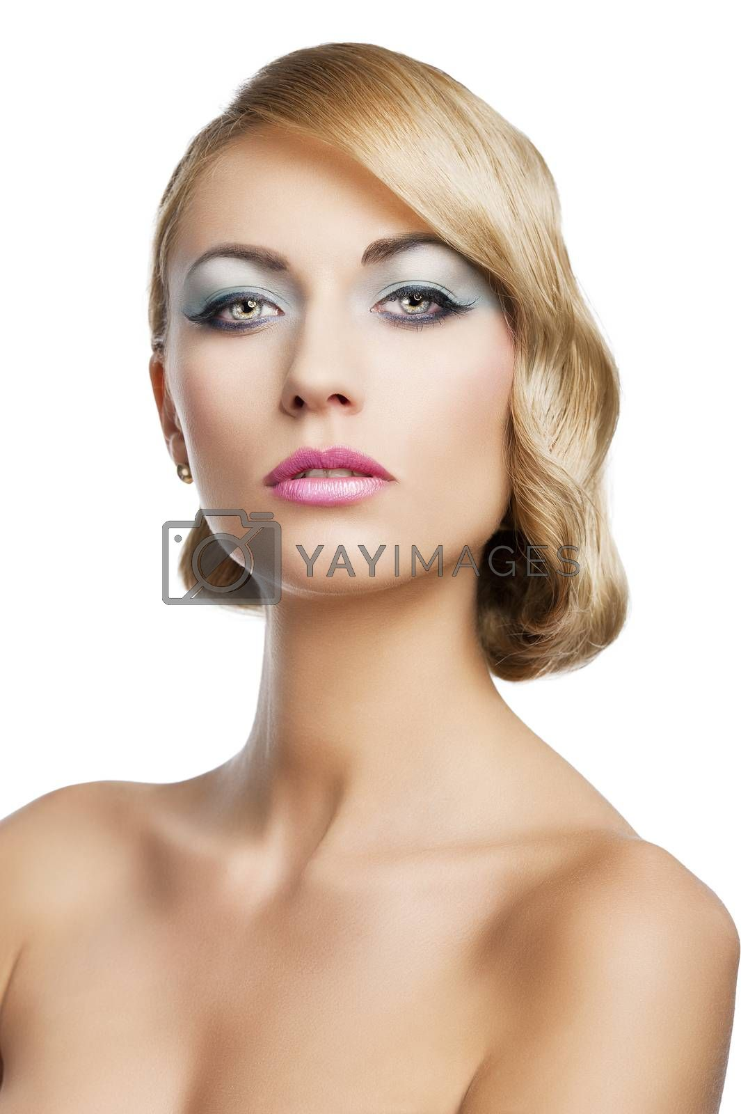 Royalty free image of blond vintage girl portrait, she is in front of the camera by fotoCD