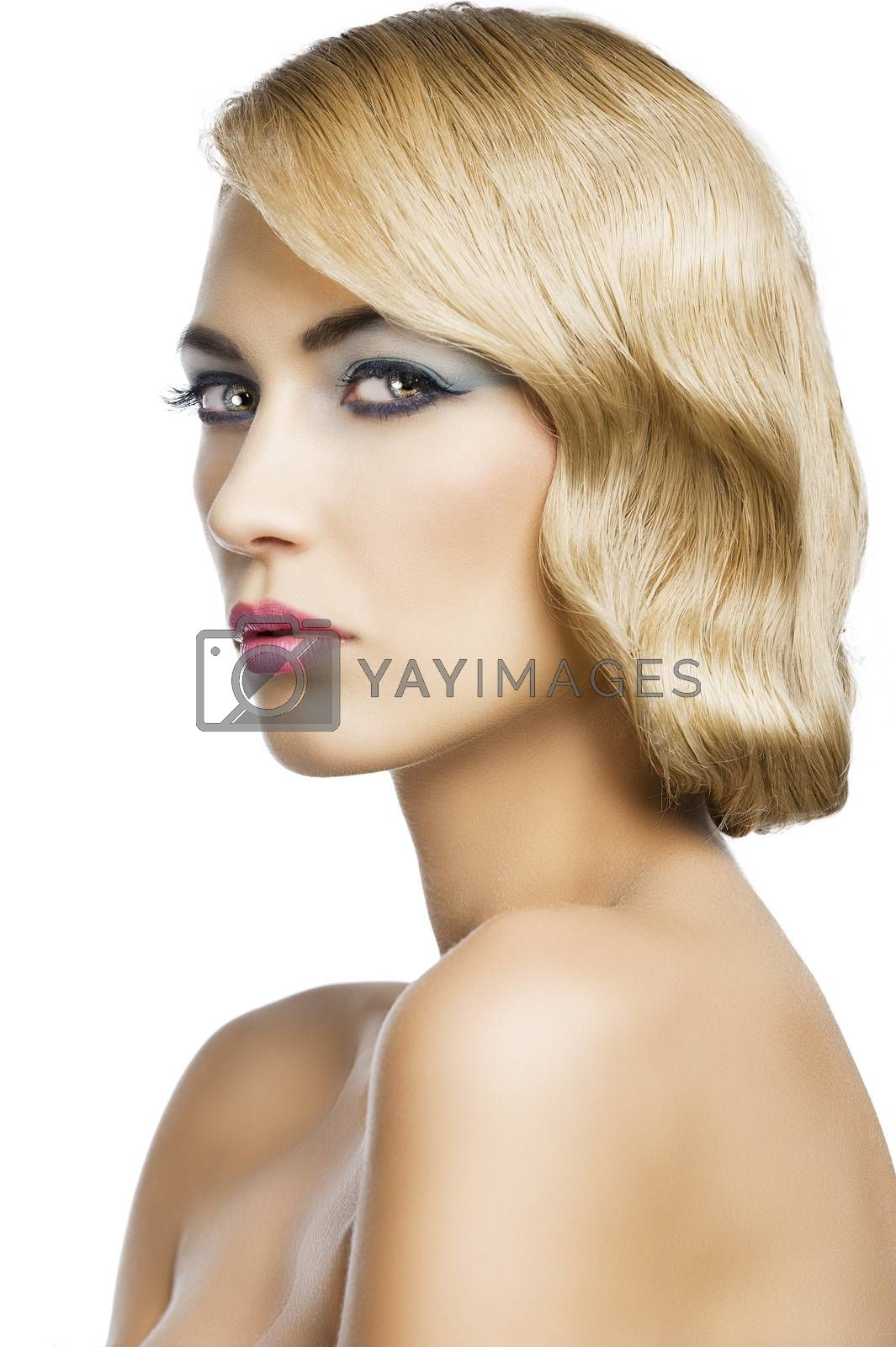 Royalty free image of blond vintage girl portrait, she is turned to the right by fotoCD