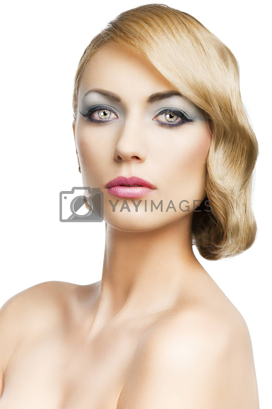 Royalty free image of blond vintage girl portrait, she looks in to the lens, she looks by fotoCD