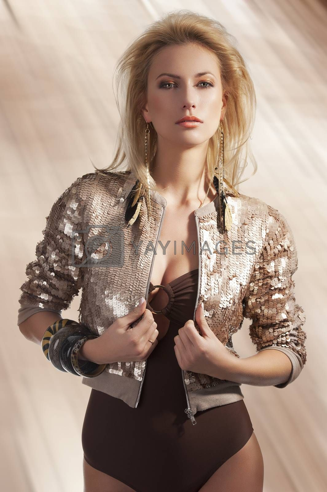 Royalty free image of fashion girl with sequins top by fotoCD