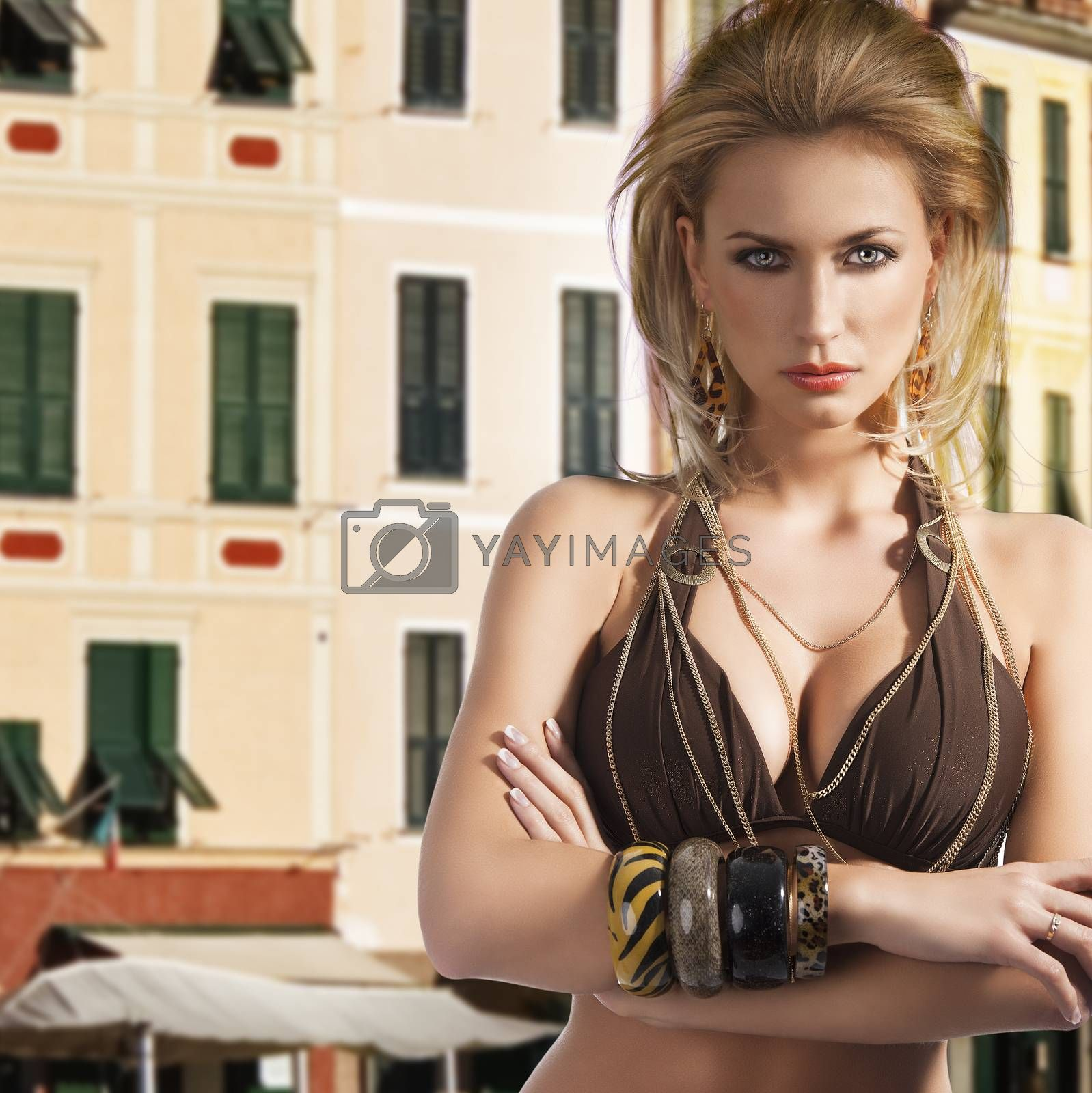 Royalty free image of bikini fashion summer girl, her arms are crossed by fotoCD