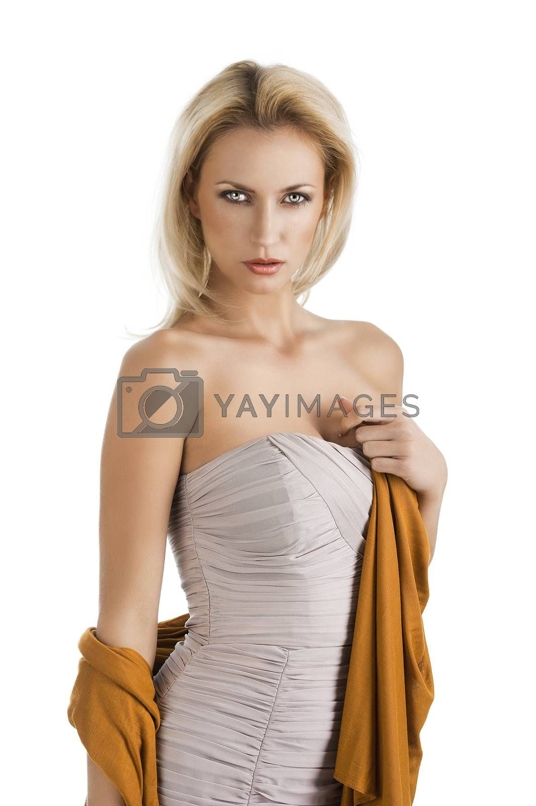 Royalty free image of blond girl in elegant dress, her left hand is on the chest by fotoCD