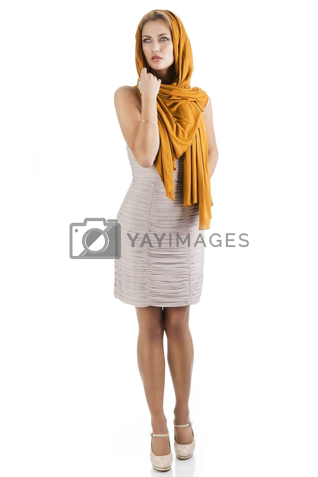 Royalty free image of blond girl in elegant dress, she looks at right by fotoCD