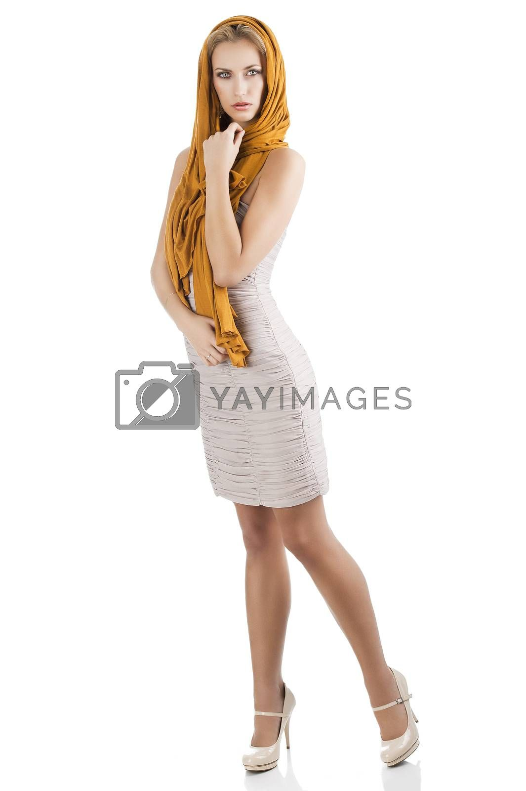 Royalty free image of blond girl in elegant dress, she is turned of three quarters  by fotoCD