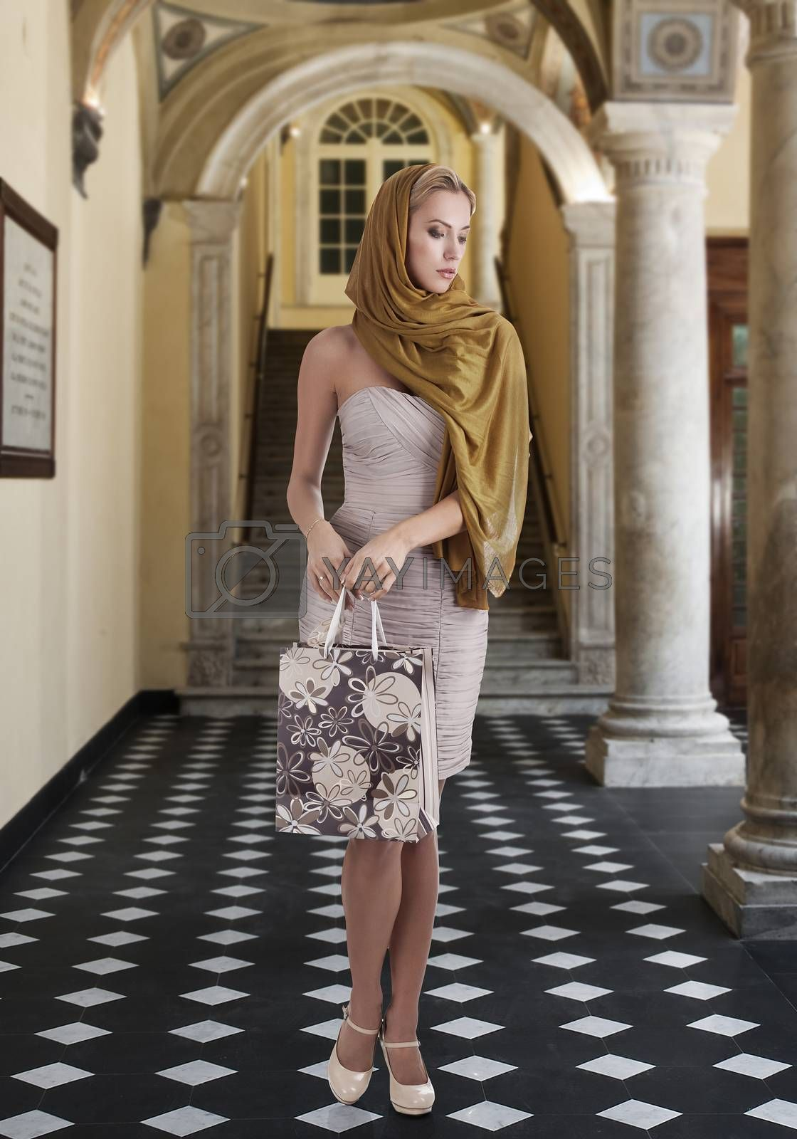 Royalty free image of elegant fashion girl with shopping bag by fotoCD