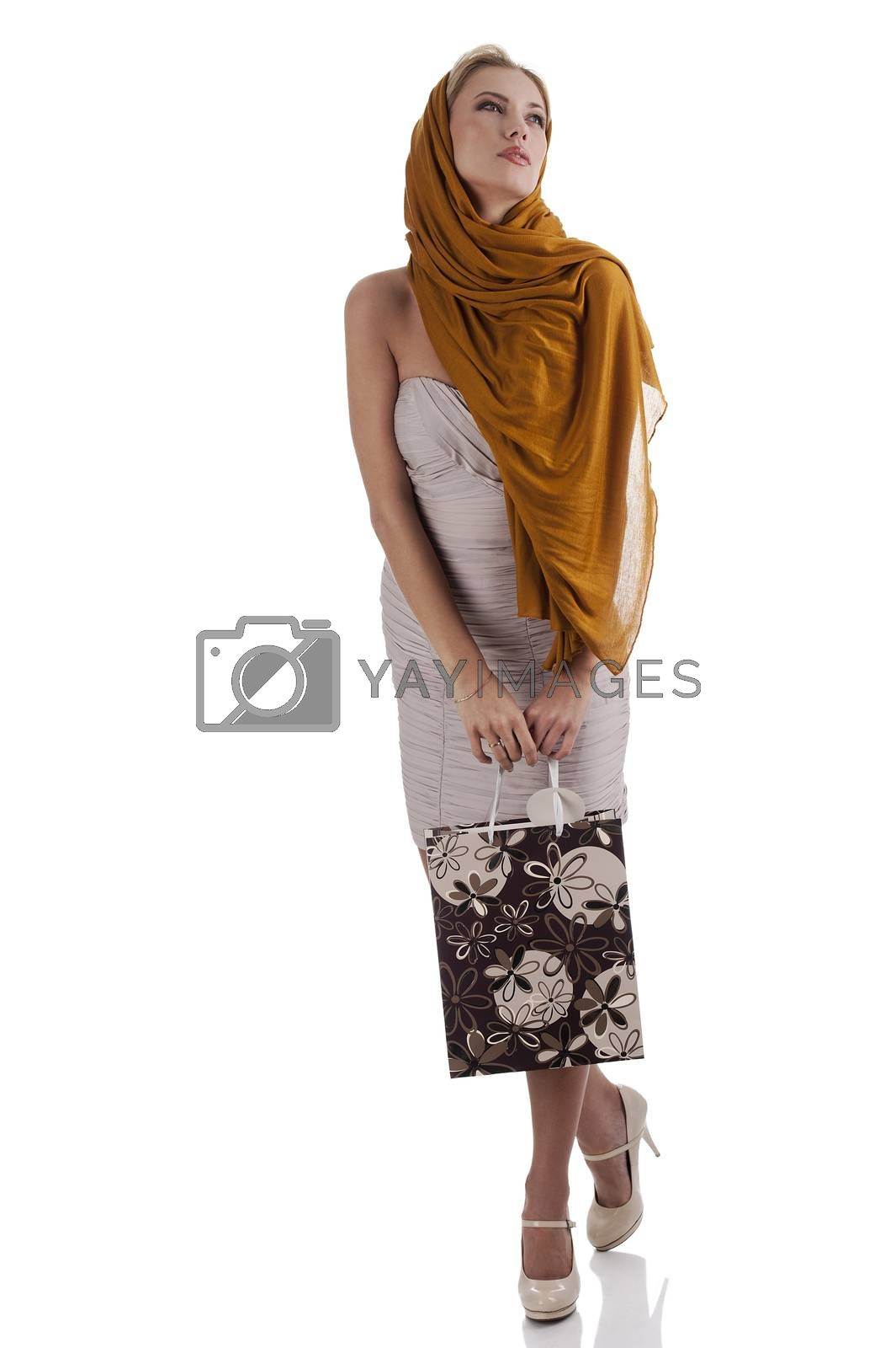 Royalty free image of dreamy elegant fashion girl with shopping bag by fotoCD