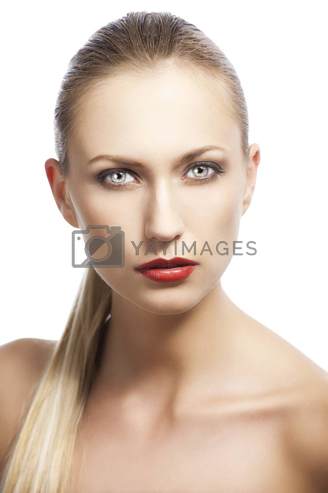 Royalty free image of beauty woman over white, she looks in to the lens by fotoCD