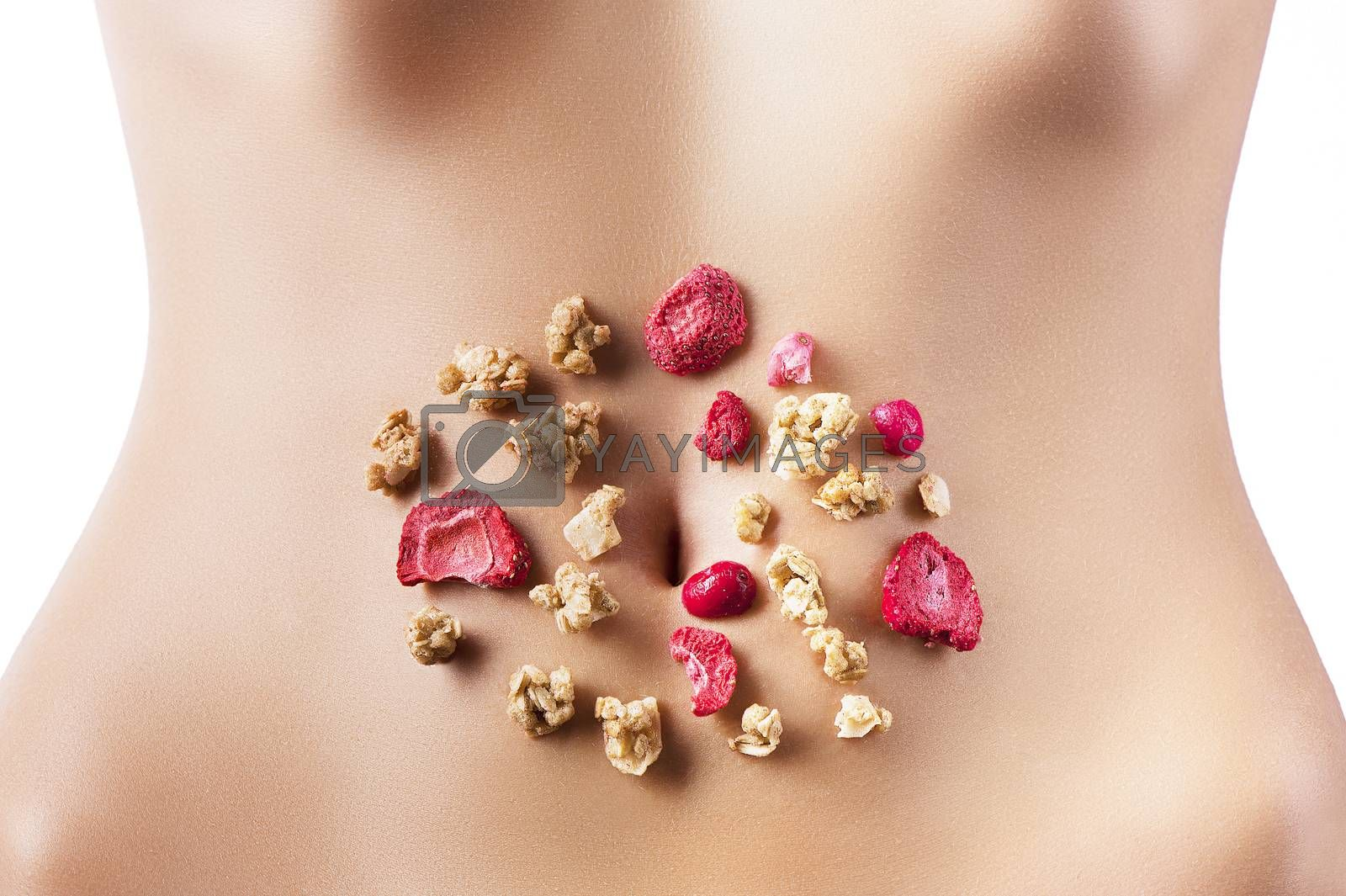 Royalty free image of composition of cereals and red dried fruits over belly by fotoCD