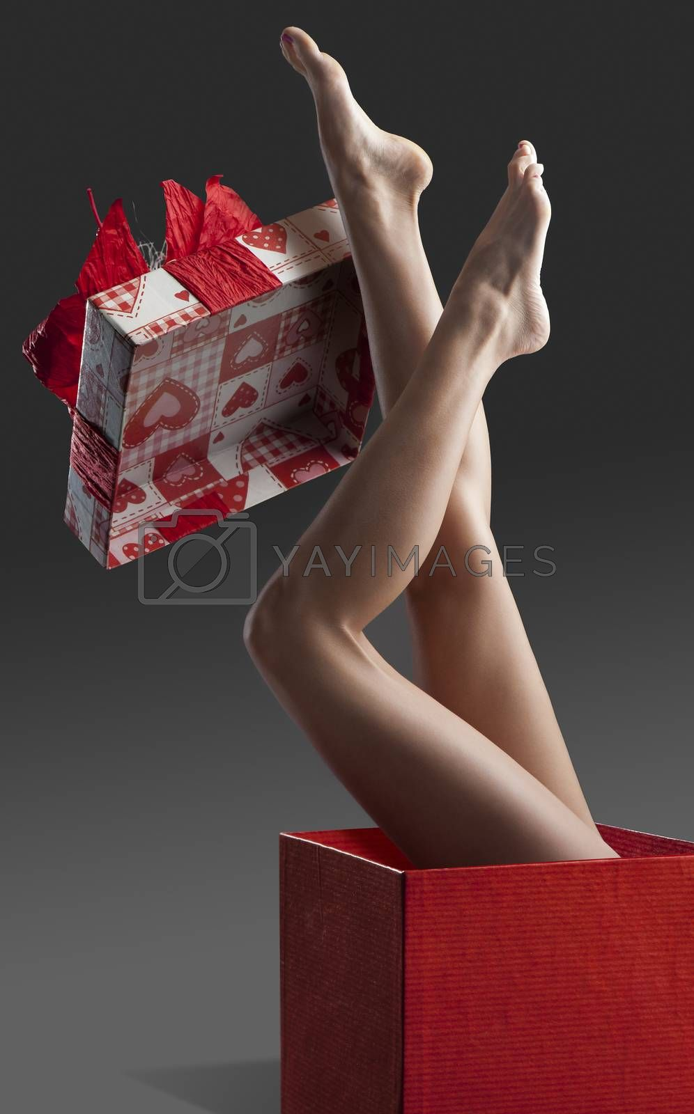 Royalty free image of Long pretty clean woman legs isolated  by fotoCD