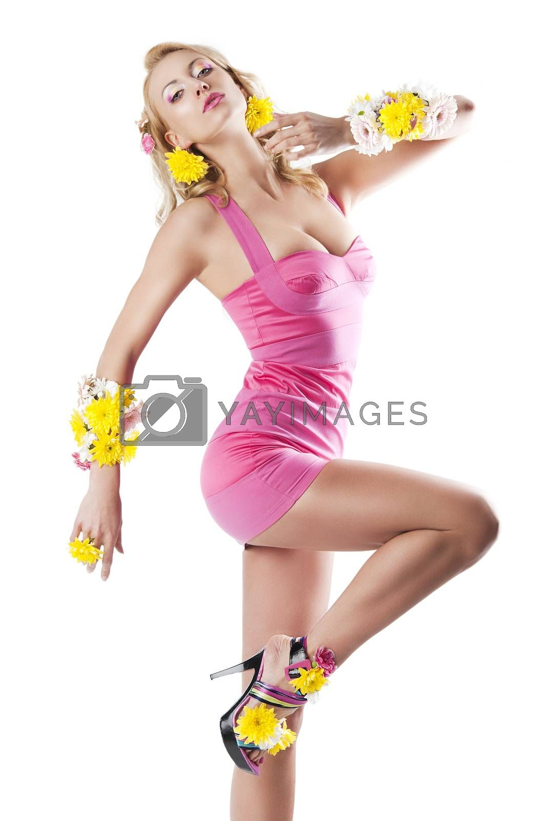 Royalty free image of flower fashion girl with pink dress, her leg is raised by fotoCD