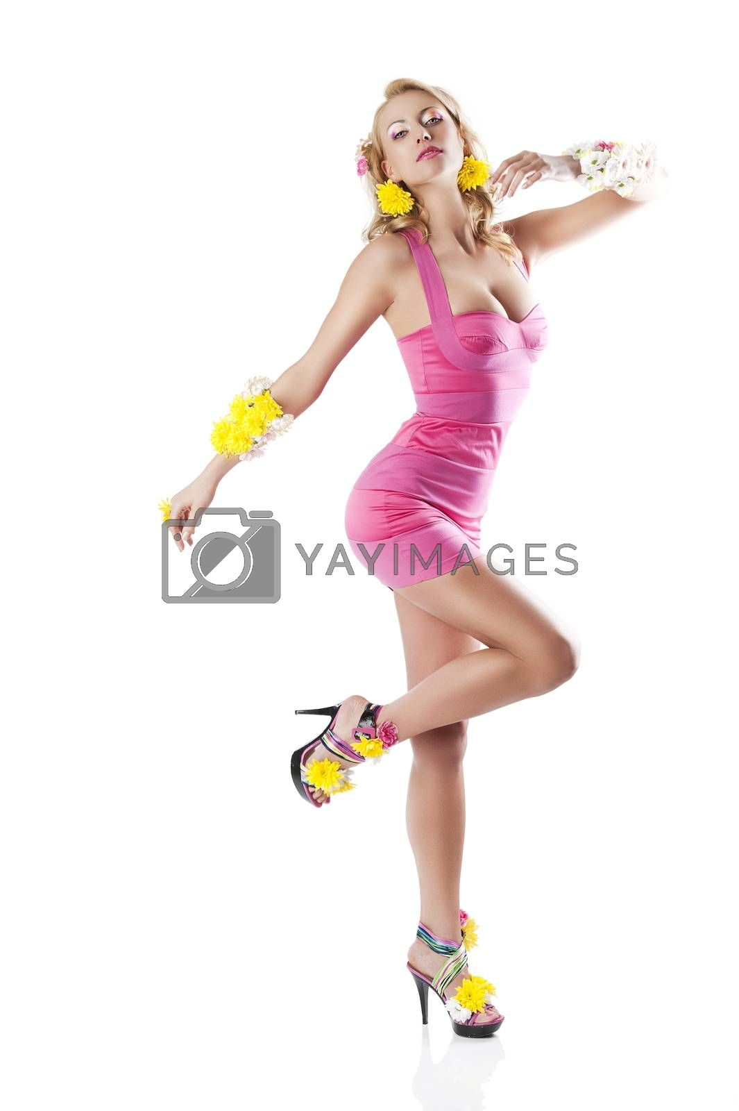 Royalty free image of flower fashion girl with pink dress, she looks in to the lens by fotoCD