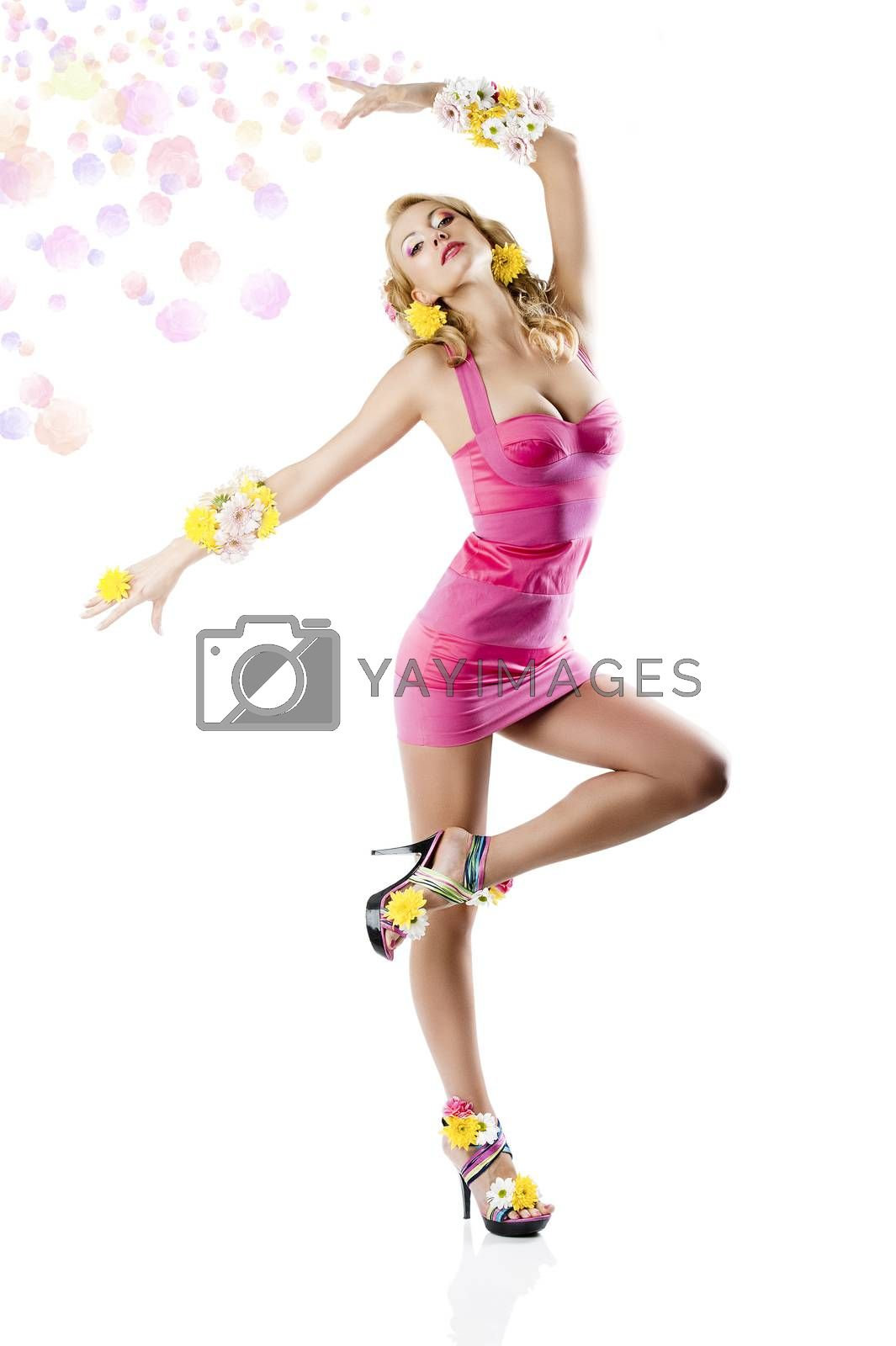 Royalty free image of flower fashion girl with pink dress in a ballet position by fotoCD