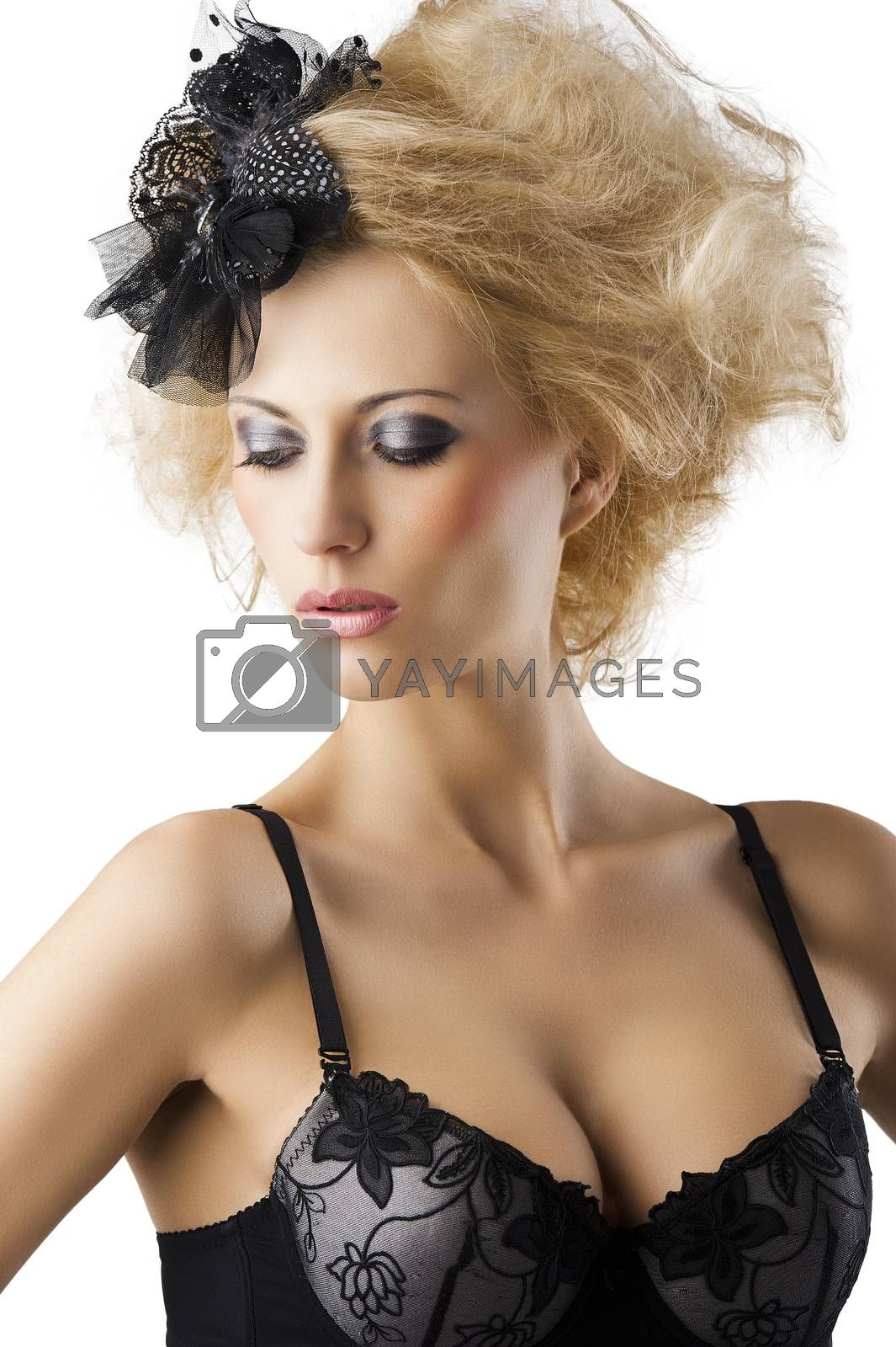 Royalty free image of blond hairstyle sexy girl with bra underwear, she looks down  by fotoCD