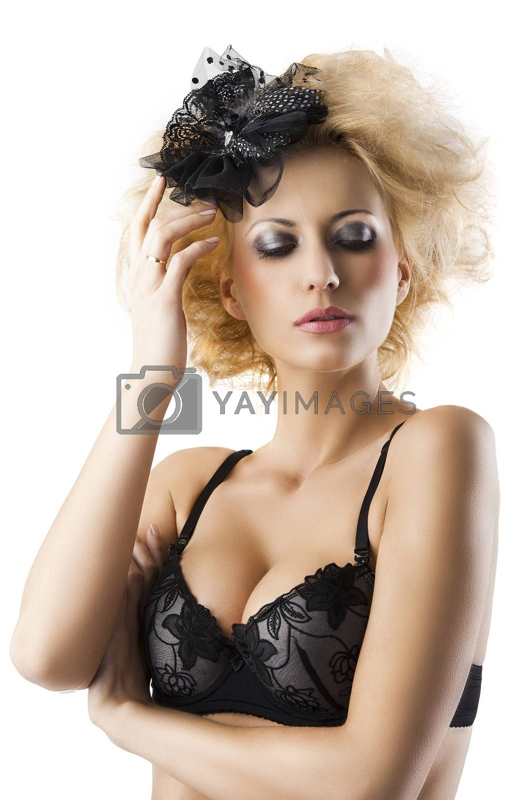 Royalty free image of blond hairstyle sexy girl with bra underwear with hand near the  by fotoCD