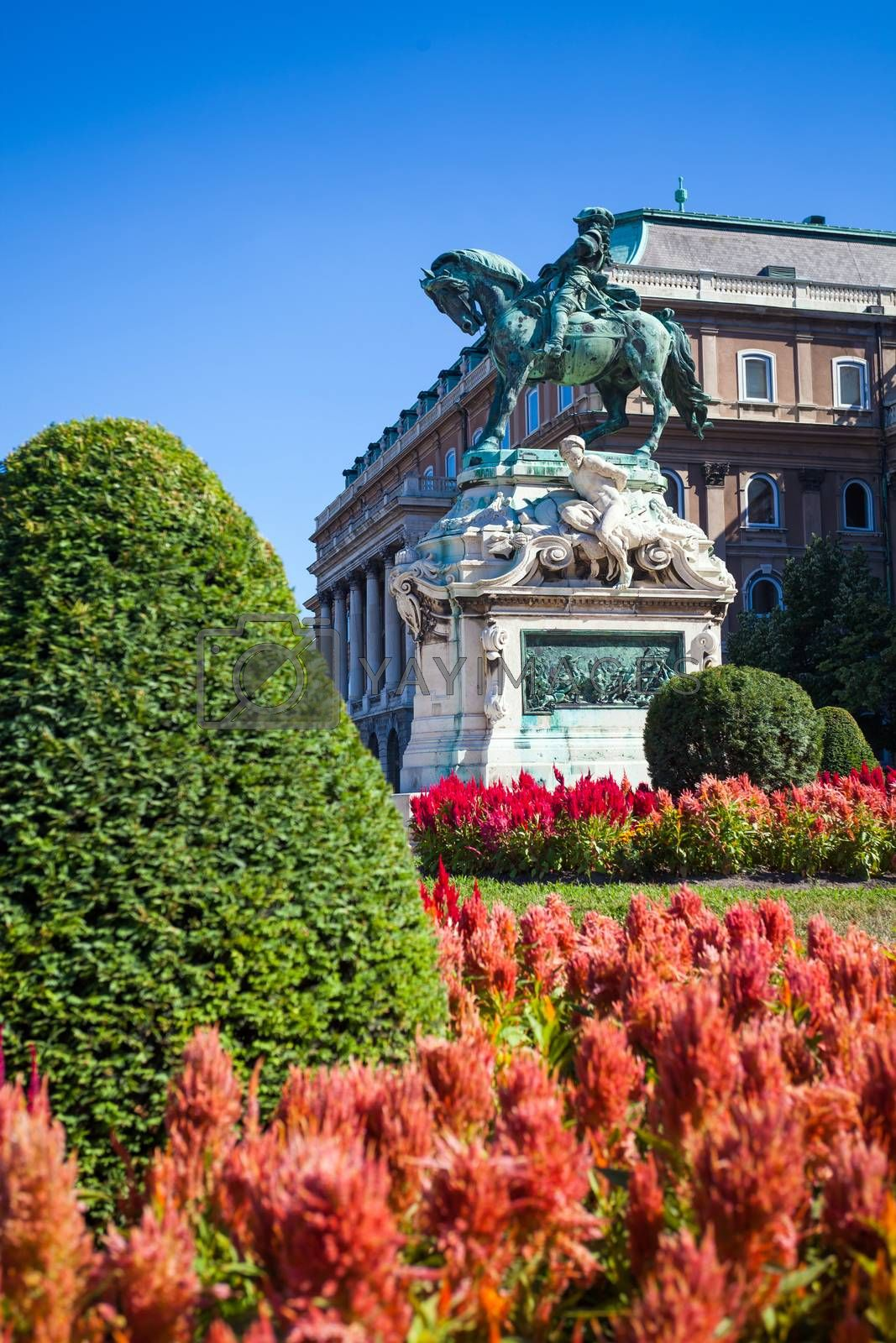 Royalty free image of The statue of Prince Eugene of Savoy in front of Buda Castle by PixAchi