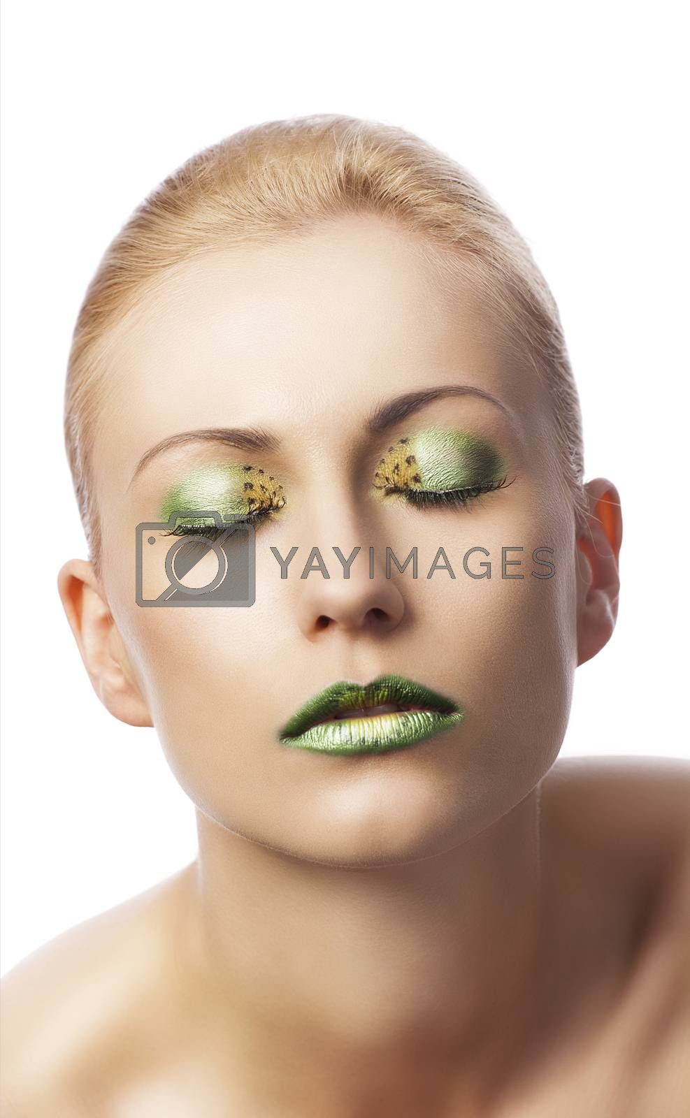 Royalty free image of the floral makeup, she is turned of three quarters by fotoCD
