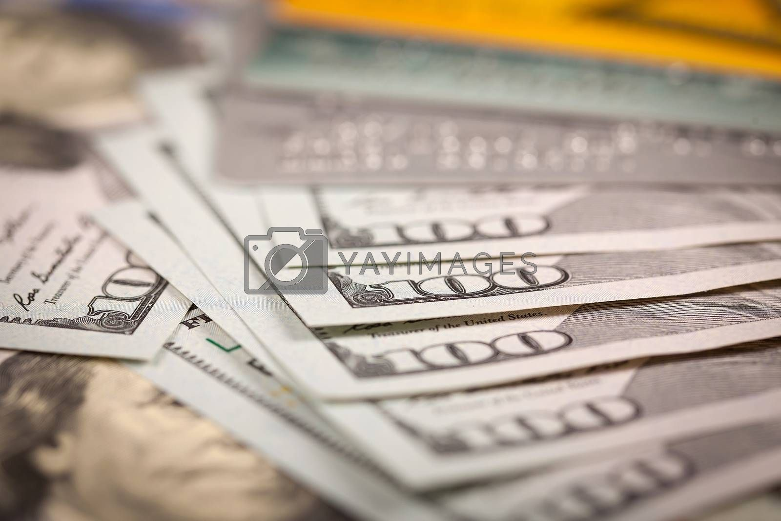 Royalty free image of Dollars and Credit Card by marcoscisetti
