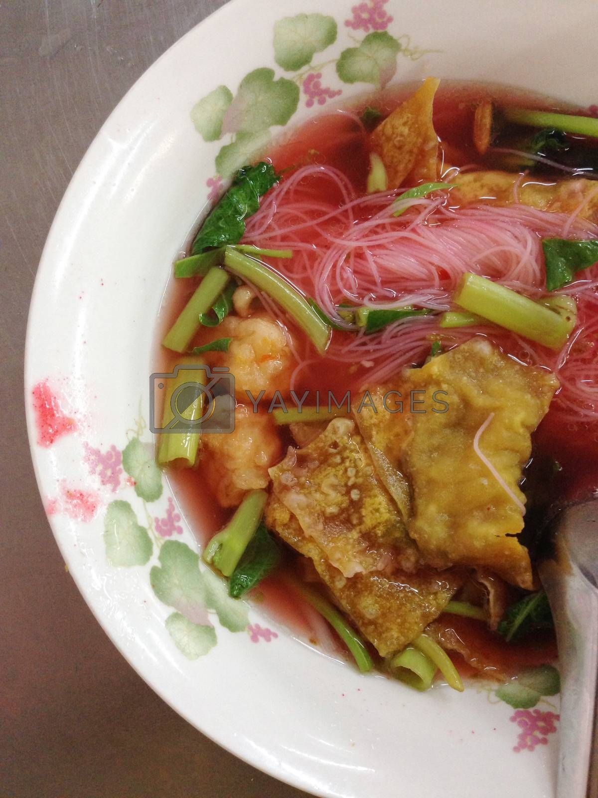 Royalty free image of dish of thai noodle with pork ball, yen ta fo by pandara