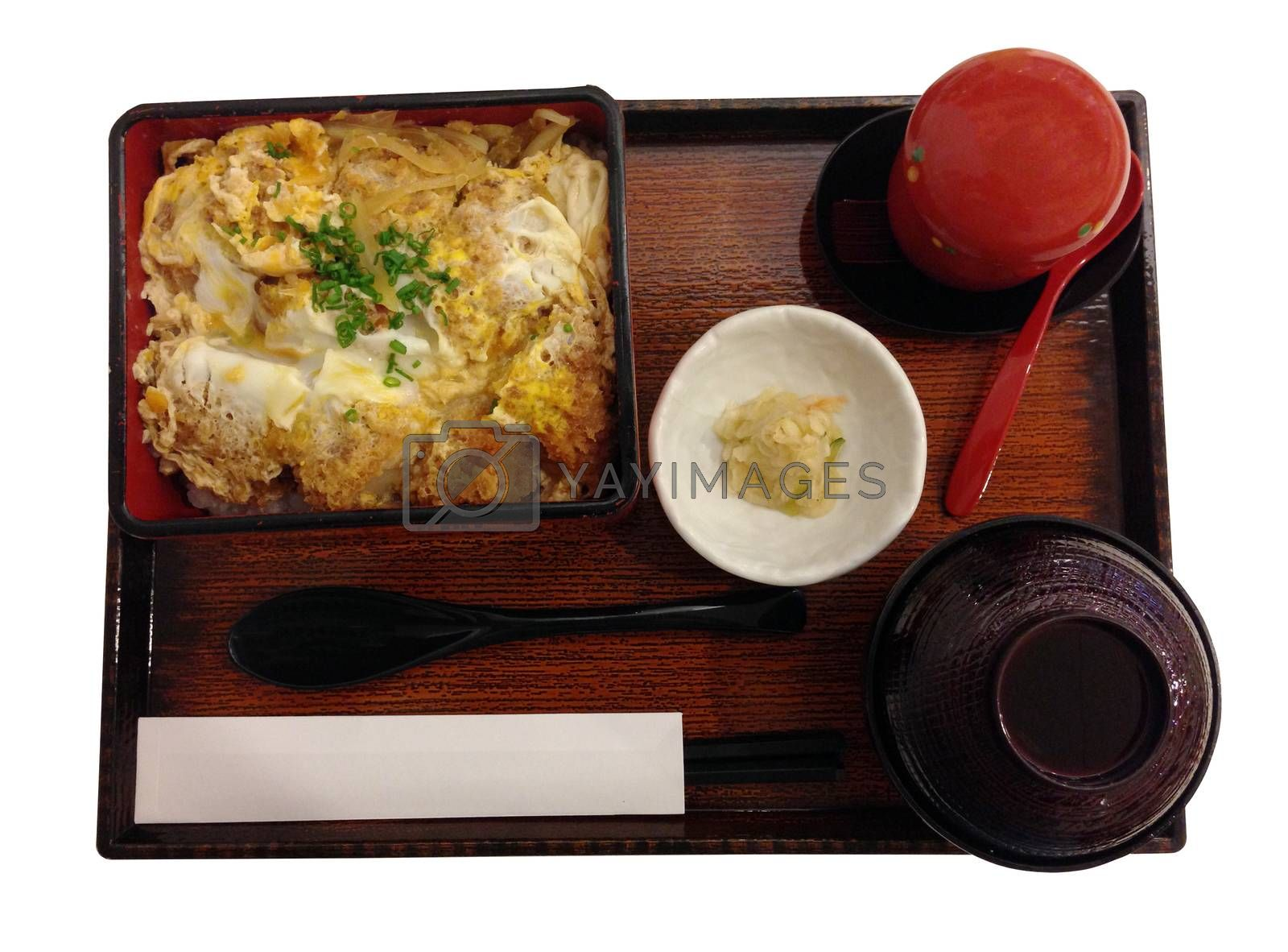 Royalty free image of bento set with fried pork and egg, japanese lunch set by pandara