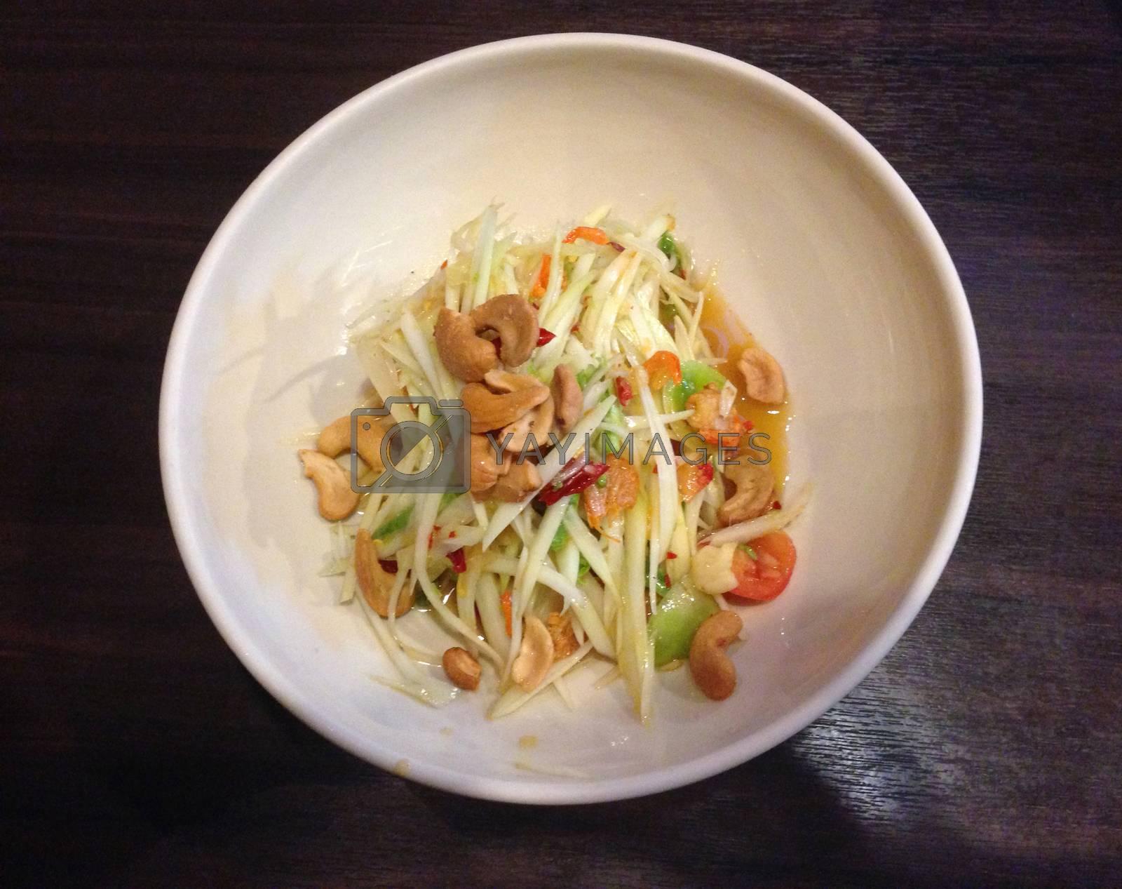 Royalty free image of the dish of papaya salad, spicy food by pandara