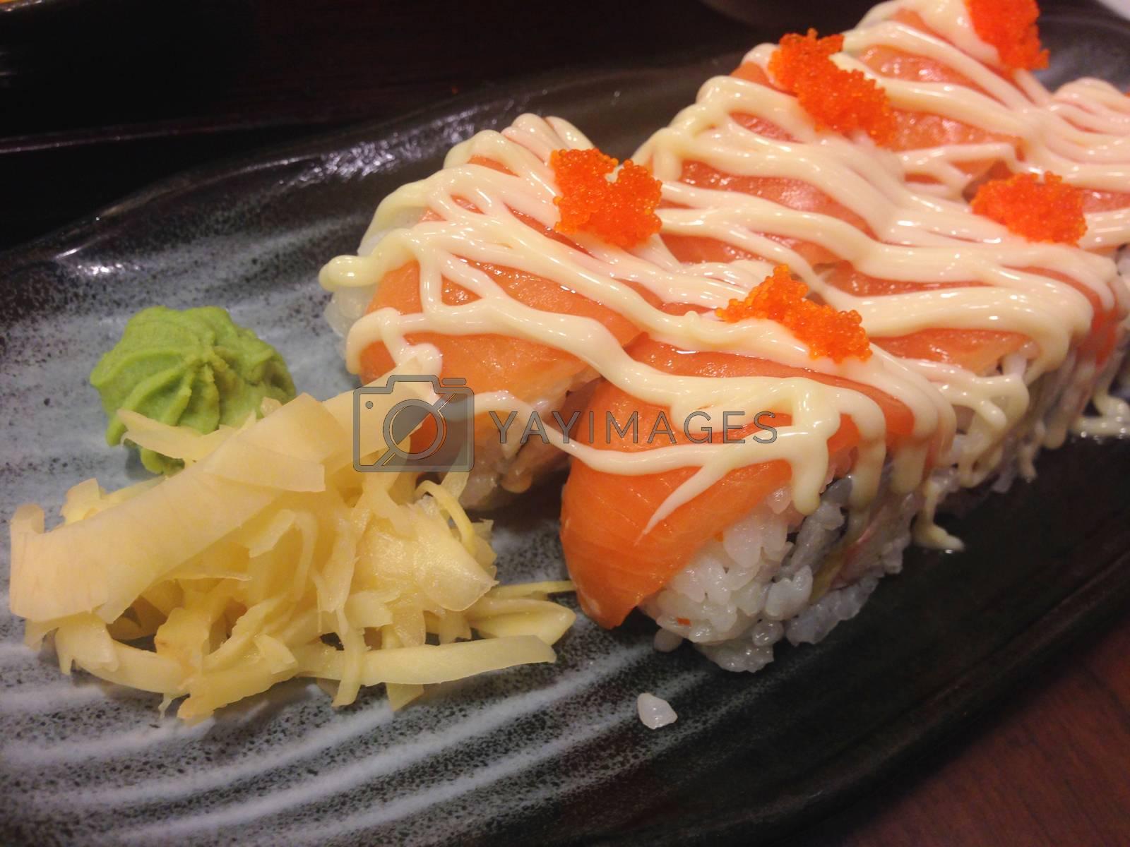 the salmon rolls sushi, japanese food
