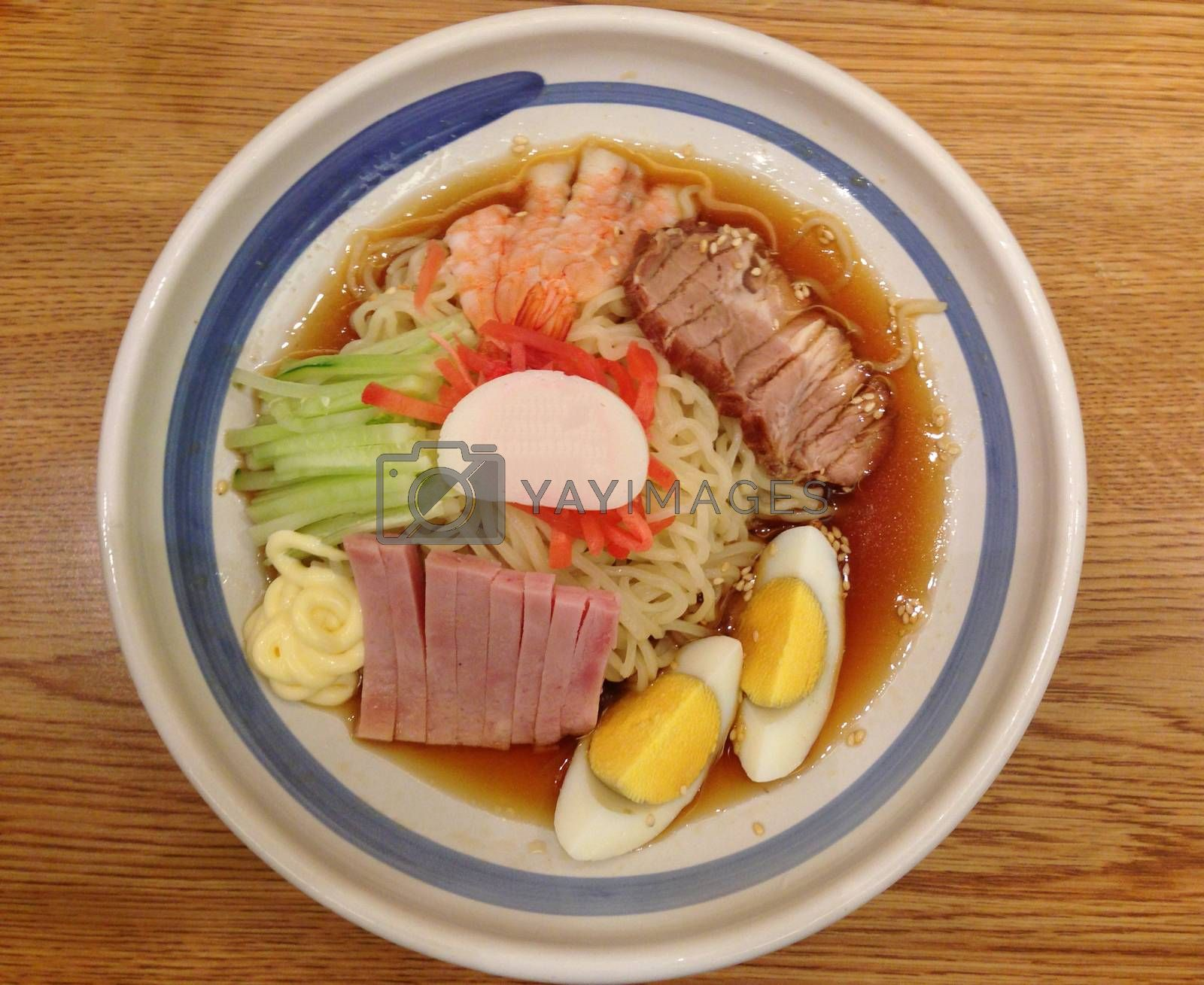Royalty free image of remen,the cold noodle with shrmip ham egg and cucumber in lemon  by pandara